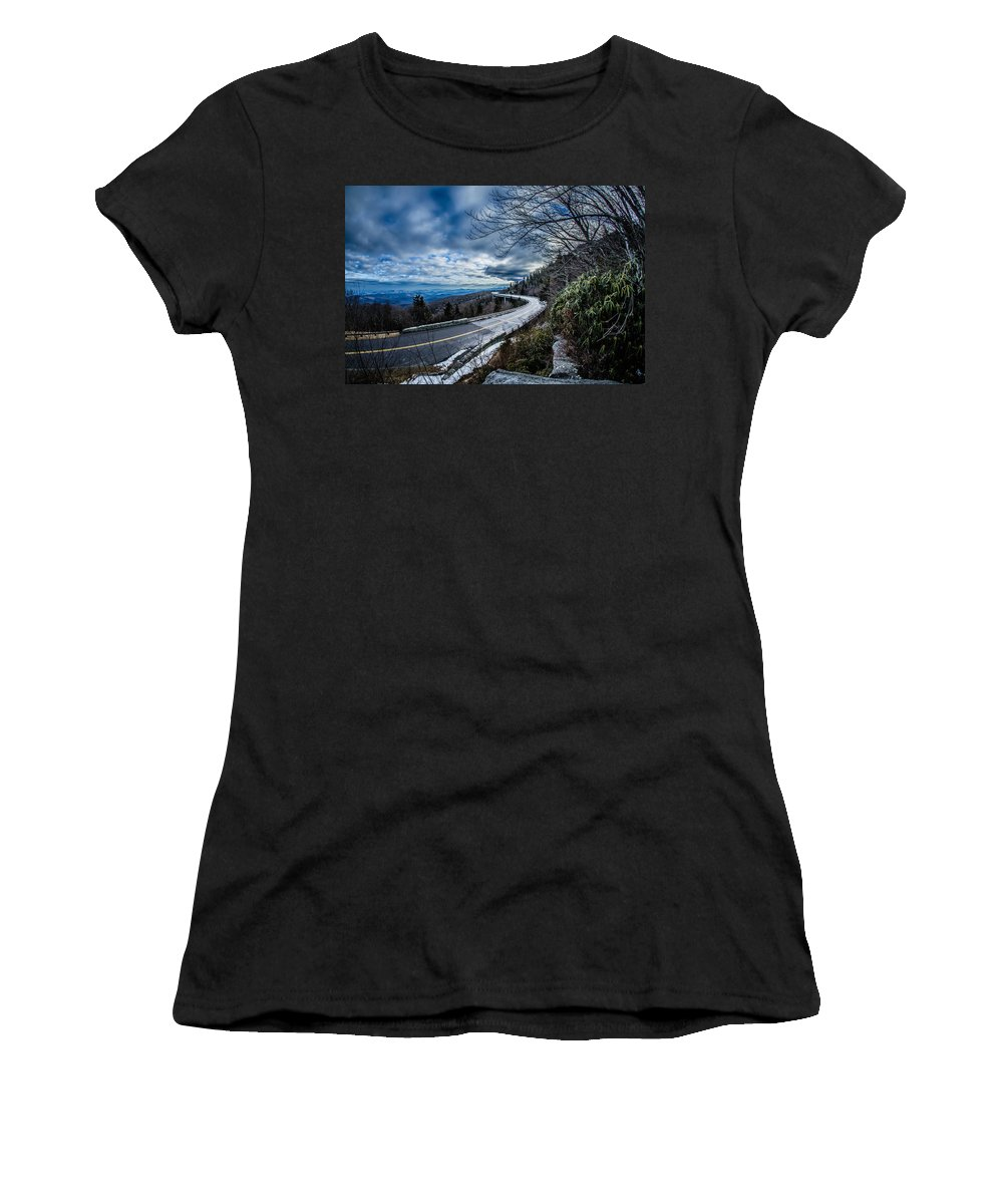 Road Women's T-Shirt featuring the photograph Linn Cove Viaduct During Winter Near Blowing Rock Nc by Alex Grichenko