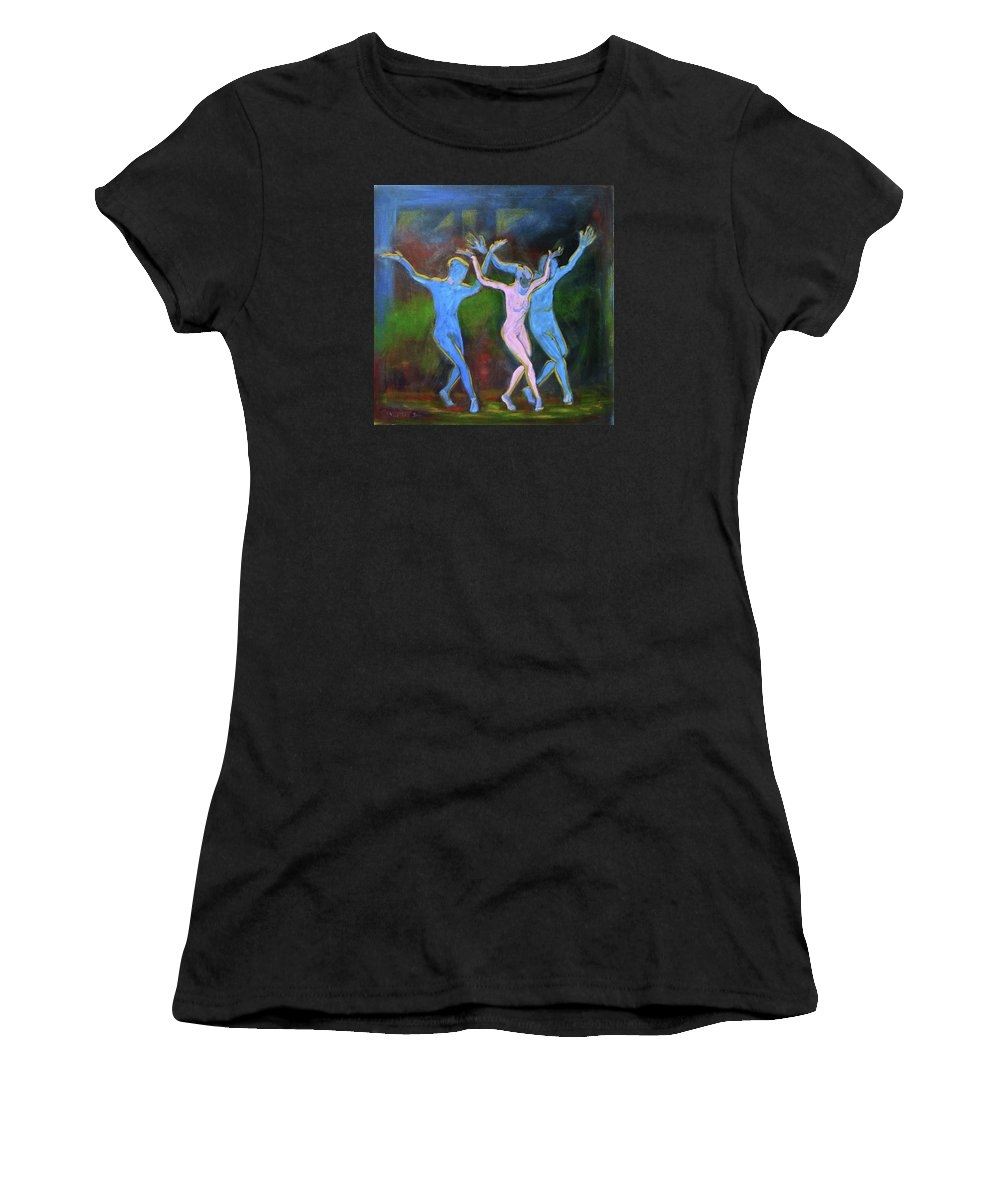 Figurative Women's T-Shirt (Athletic Fit) featuring the painting Main Stage IIi by Xueling Zou