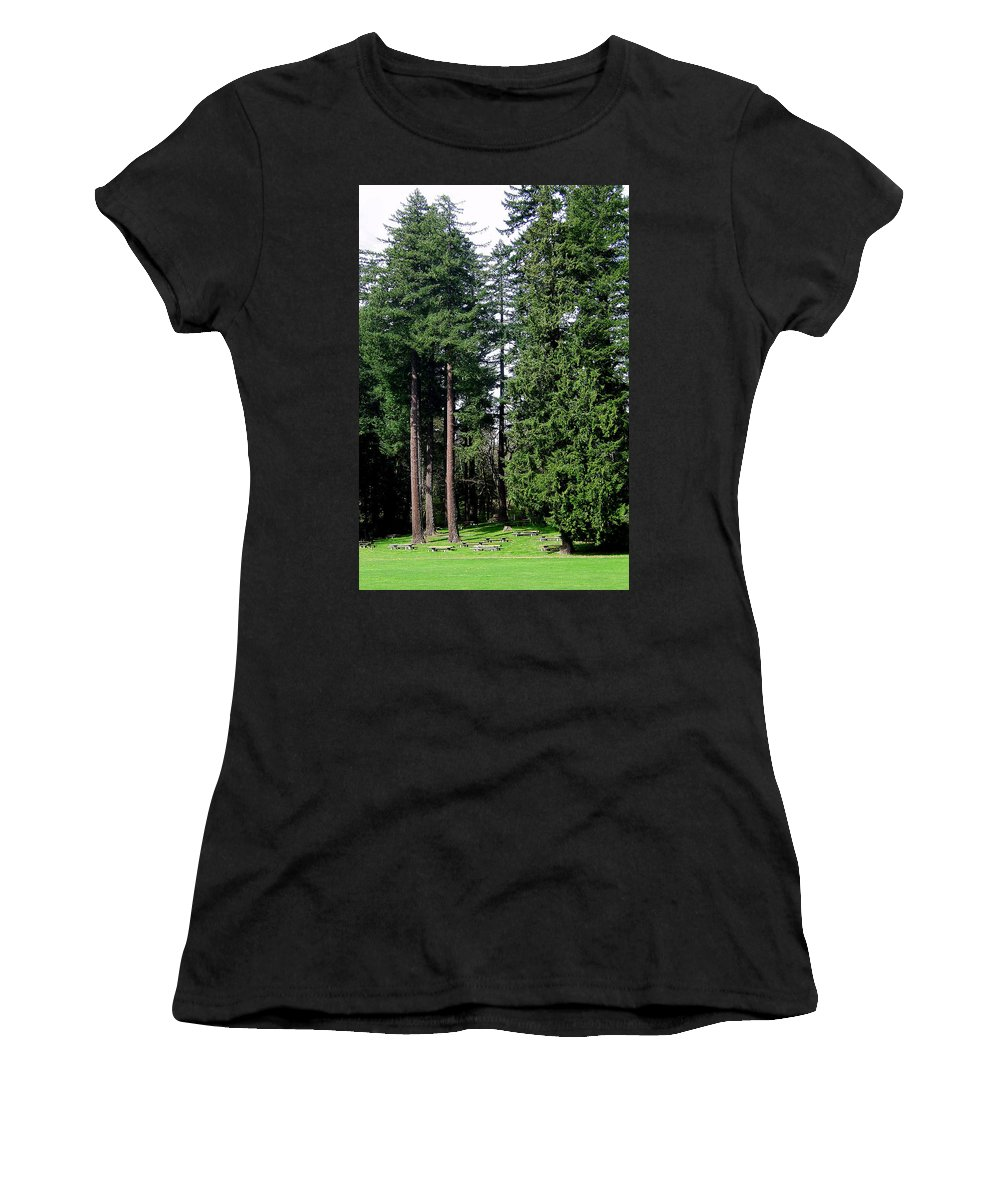 Bloom Women's T-Shirt (Athletic Fit) featuring the photograph Picnic With The Giants by J D Owen