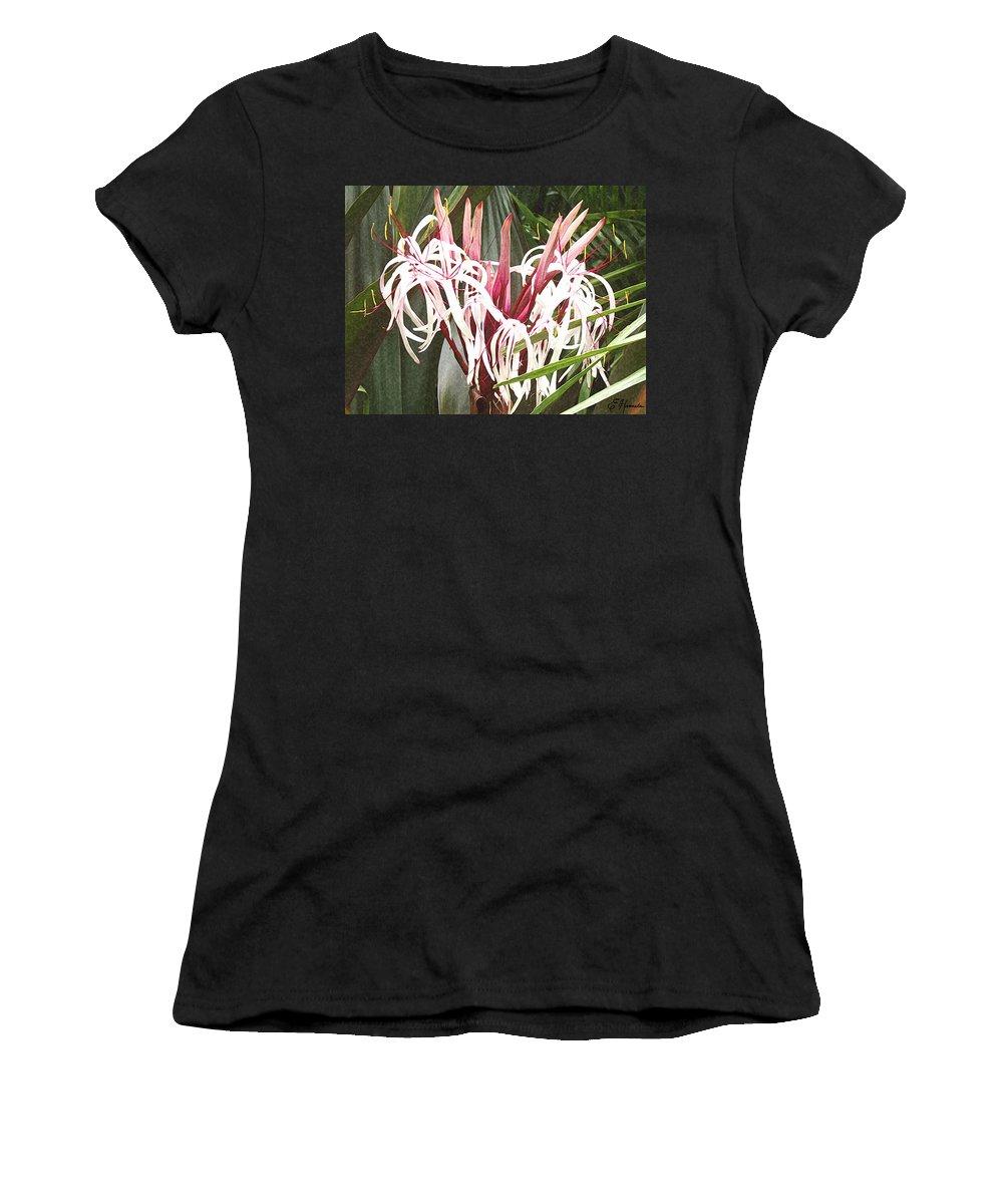 Queen Emma Crinum Lilies Women's T-Shirt (Athletic Fit) featuring the painting Queen Emma Crinum Lilies by Ellen Henneke