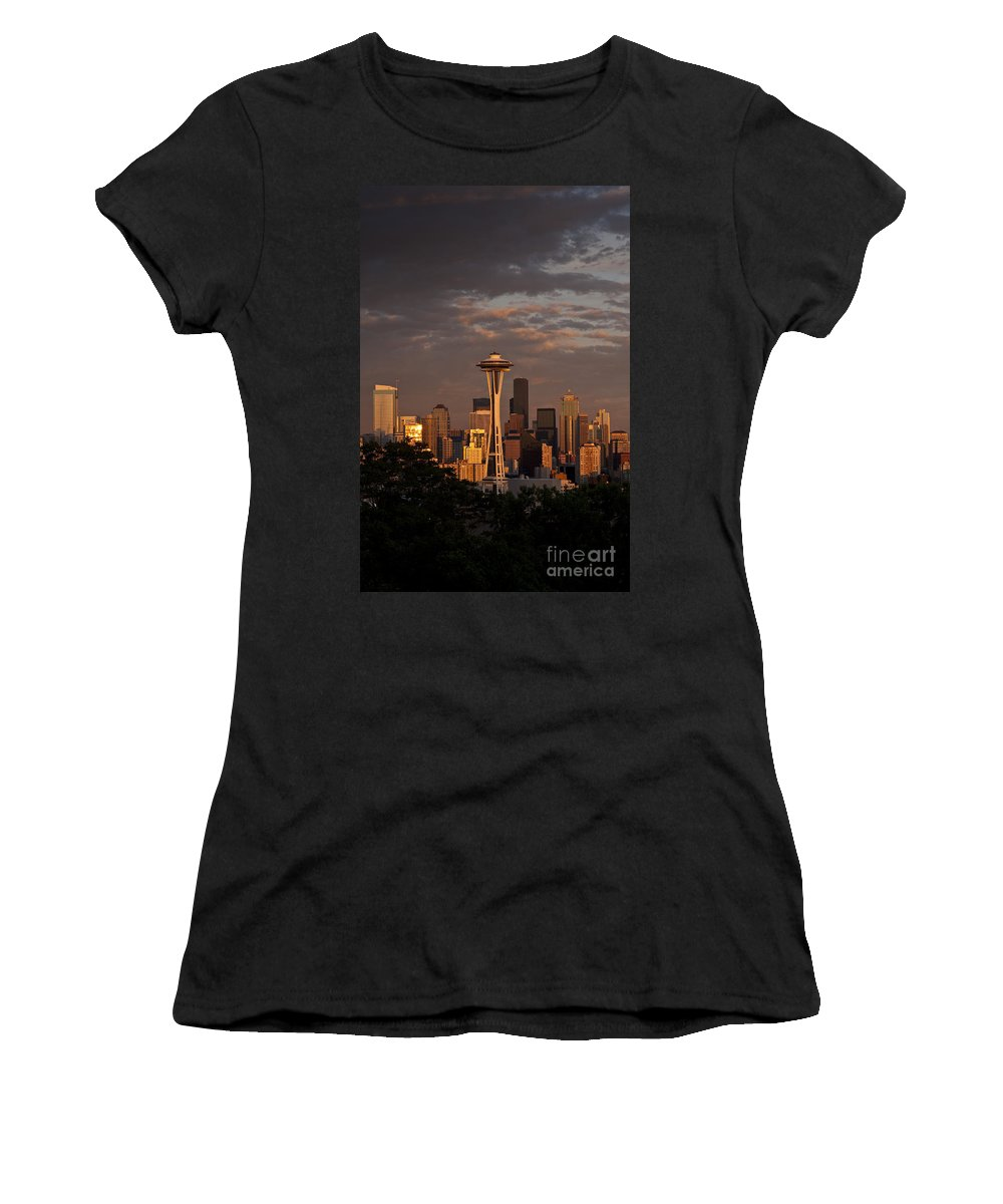 Kerry Park Women's T-Shirt featuring the photograph Seattle Skyline With Space Needle And Stormy Weather by Jim Corwin