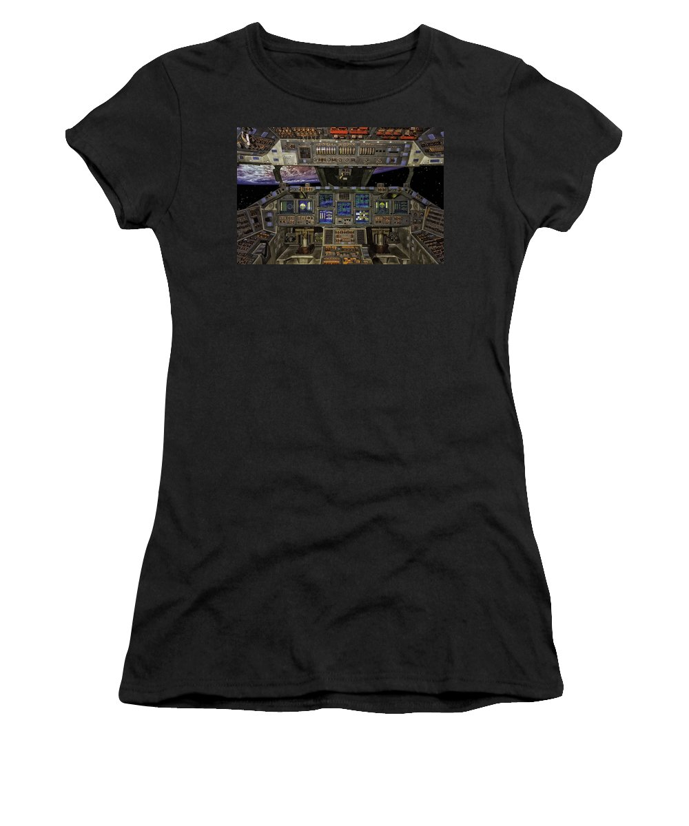 Space Shuttle Women's T-Shirt featuring the photograph Space Shuttle Cockpit by Mountain Dreams
