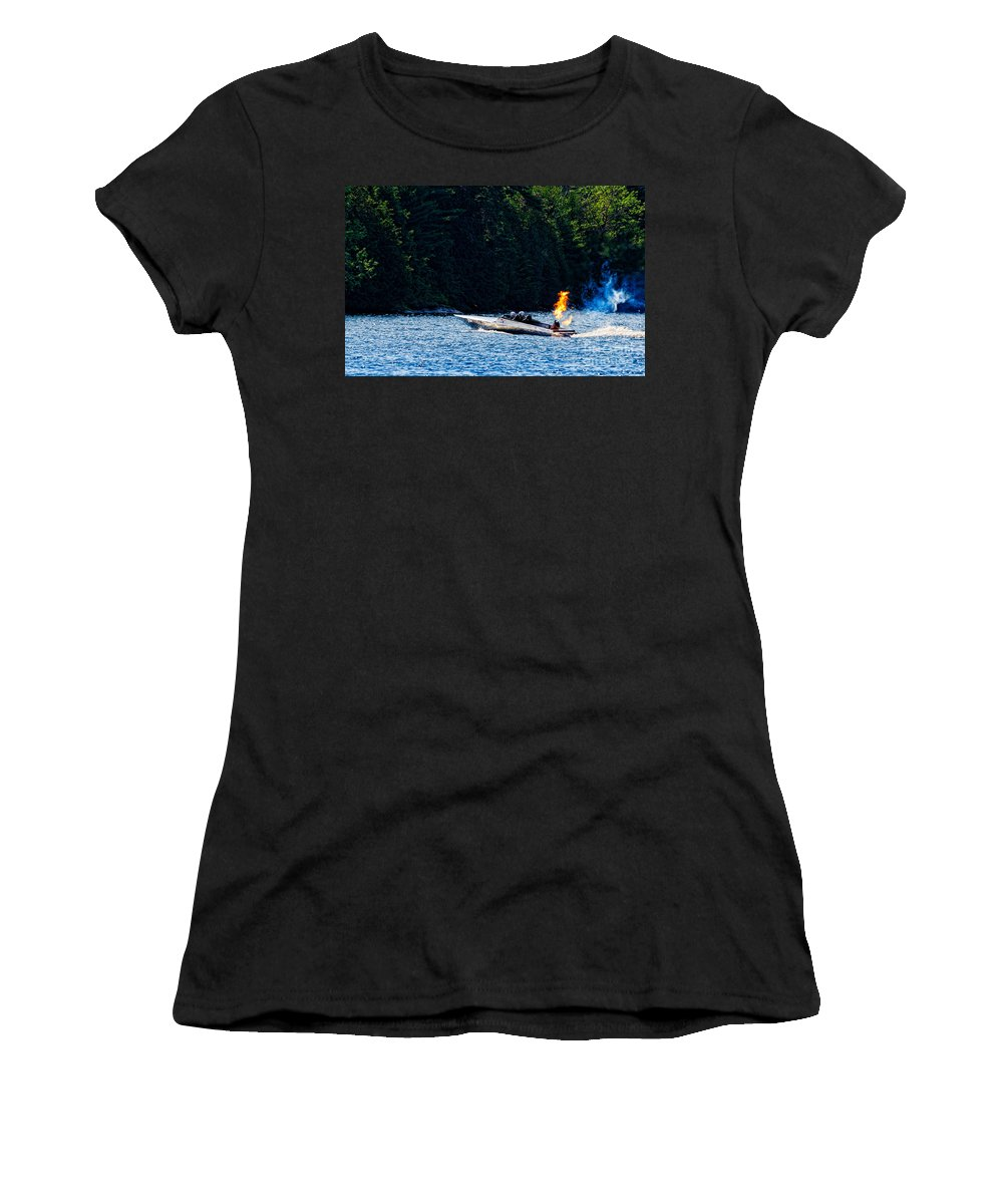 Squirt Women's T-Shirt featuring the photograph Squirt 2 Turbine Jet Boat by Les Palenik