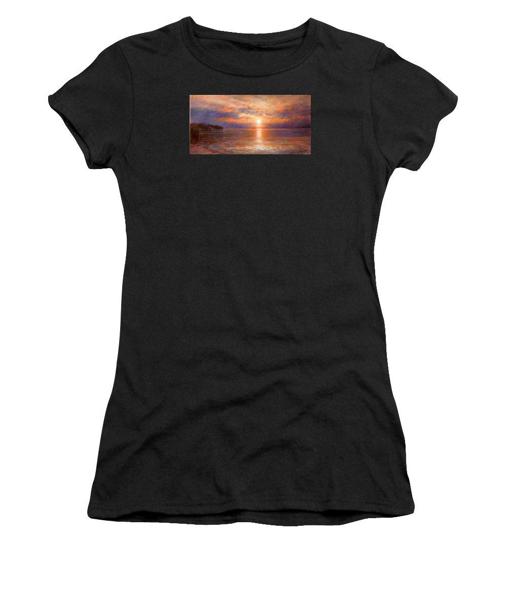 Sunset Women's T-Shirt featuring the painting Sunset by Arthur Braginsky