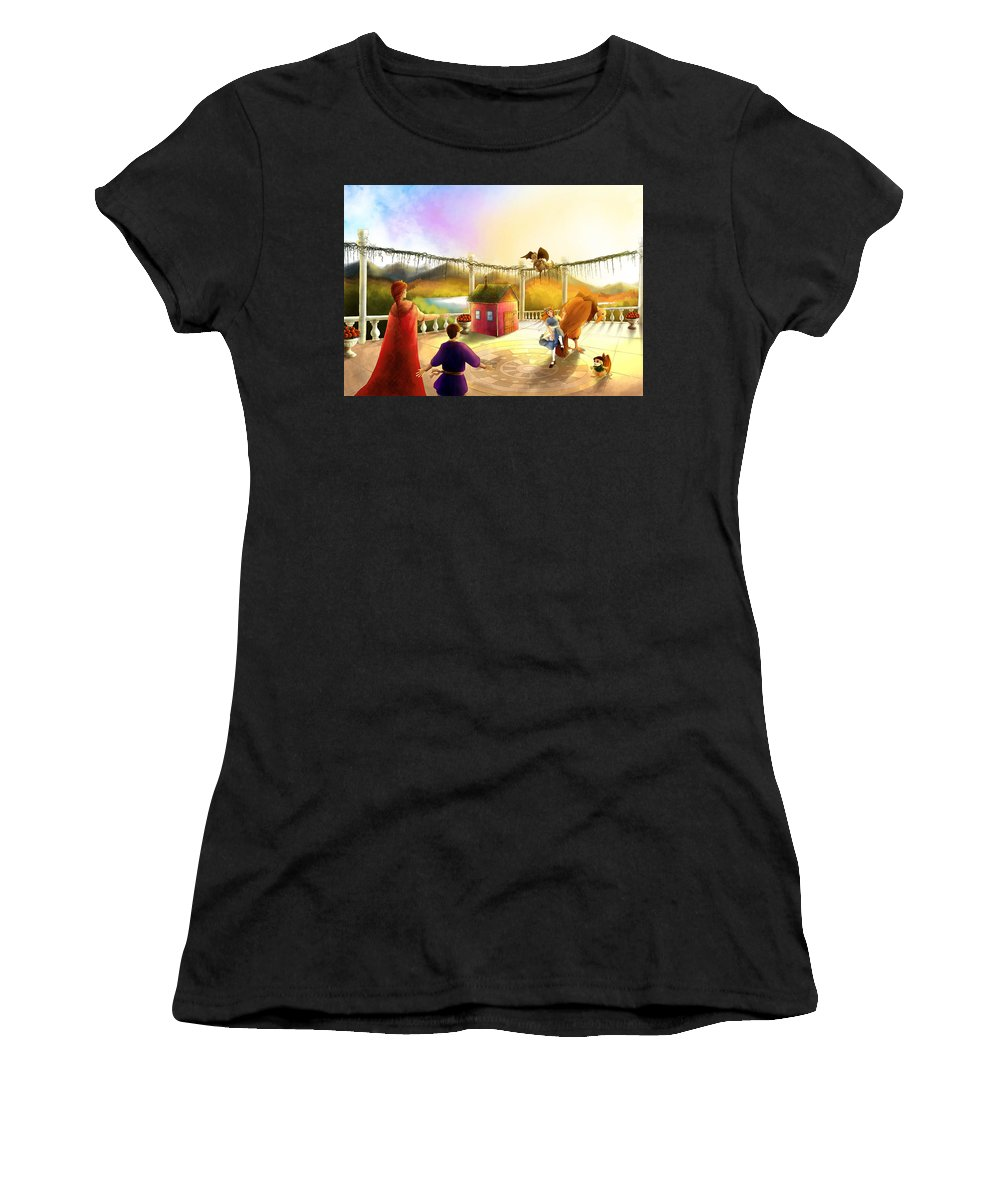 Fantasy Women's T-Shirt (Athletic Fit) featuring the painting The Palace Balcony by Reynold Jay