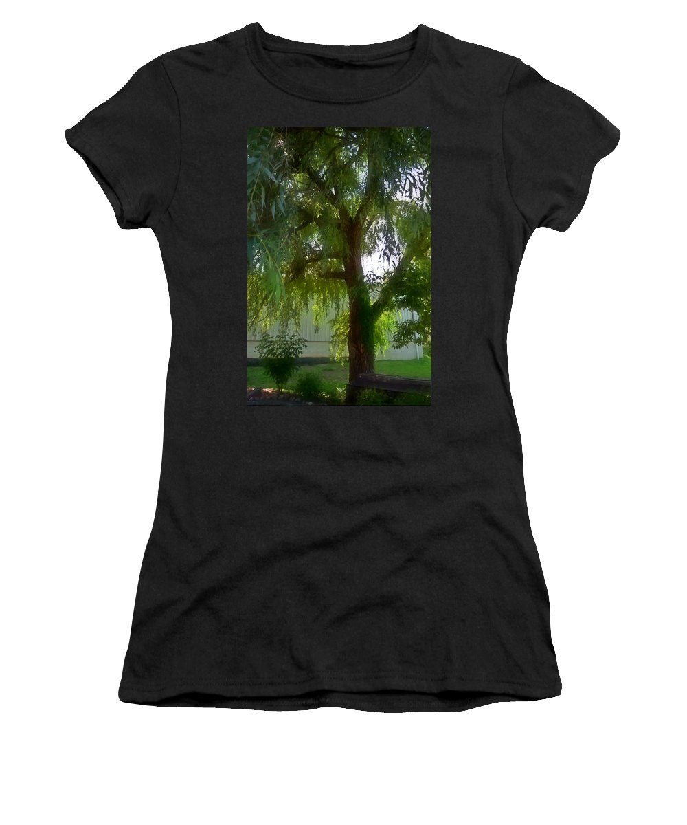 Tree Women's T-Shirt (Athletic Fit) featuring the painting Tree by Jeelan Clark