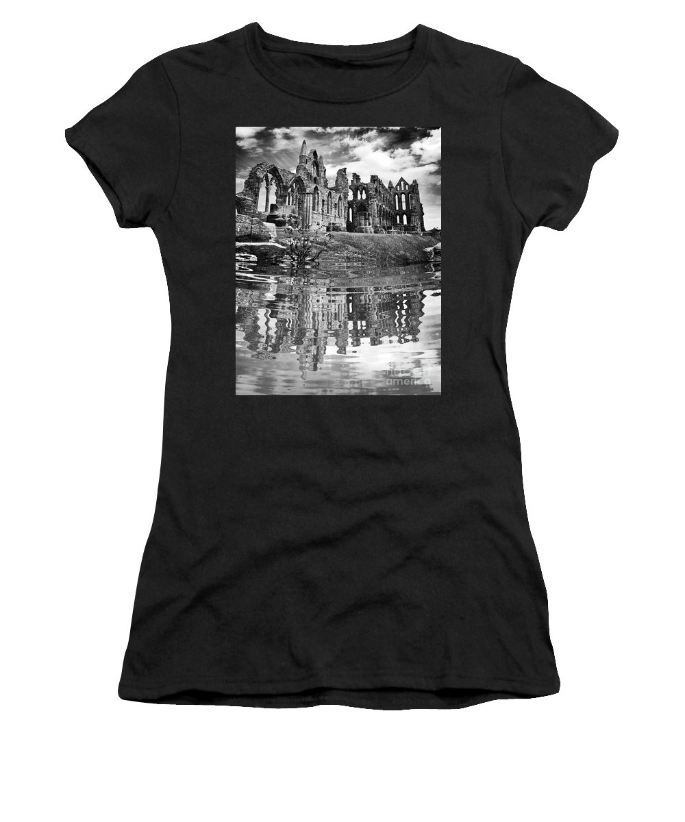 Whitby Women's T-Shirt (Athletic Fit) featuring the digital art Whitby Abbey by Traci Law
