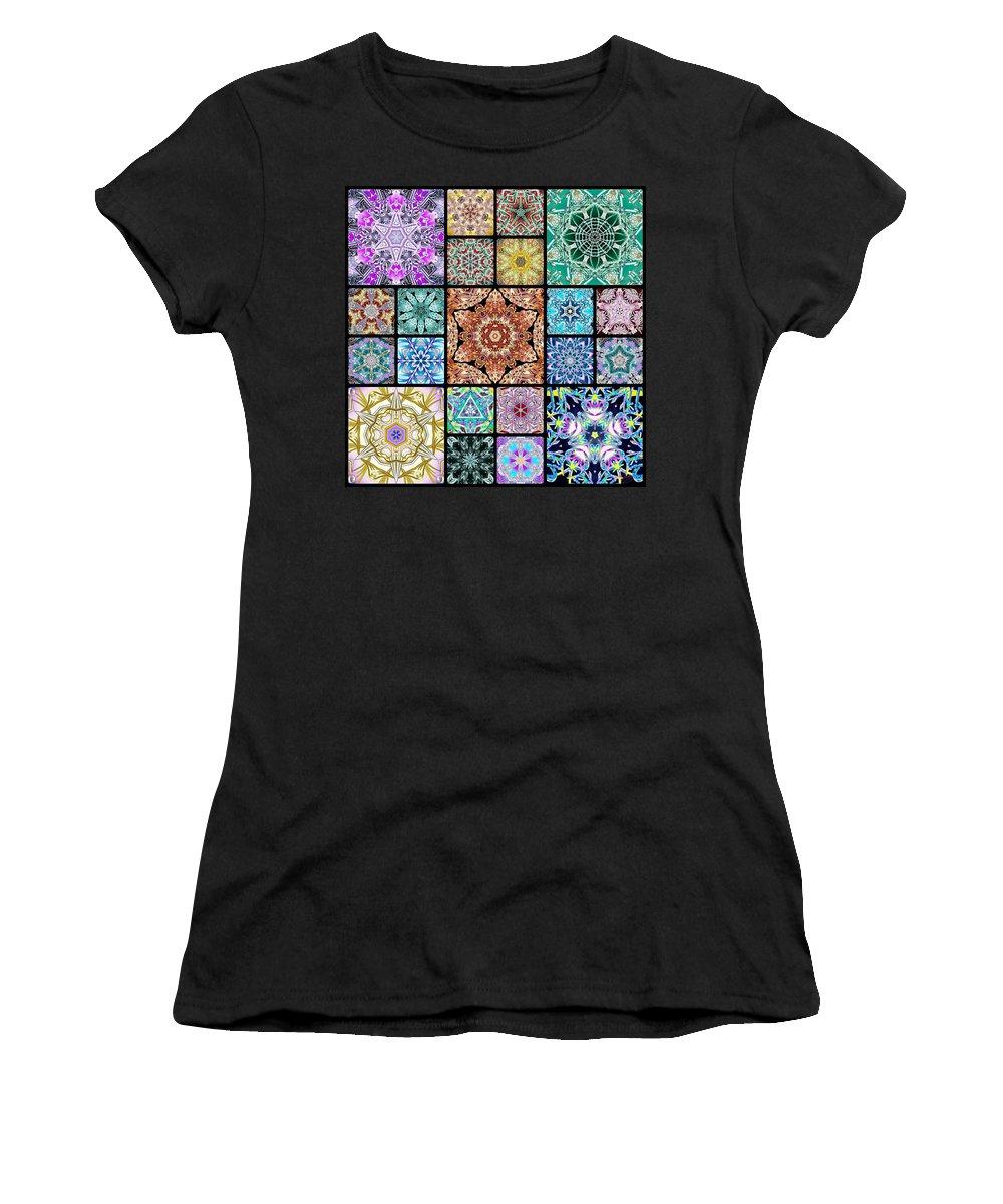 Sacredlife Mandalas Women's T-Shirt featuring the digital art 3d Cosmic Sample Grid by Derek Gedney