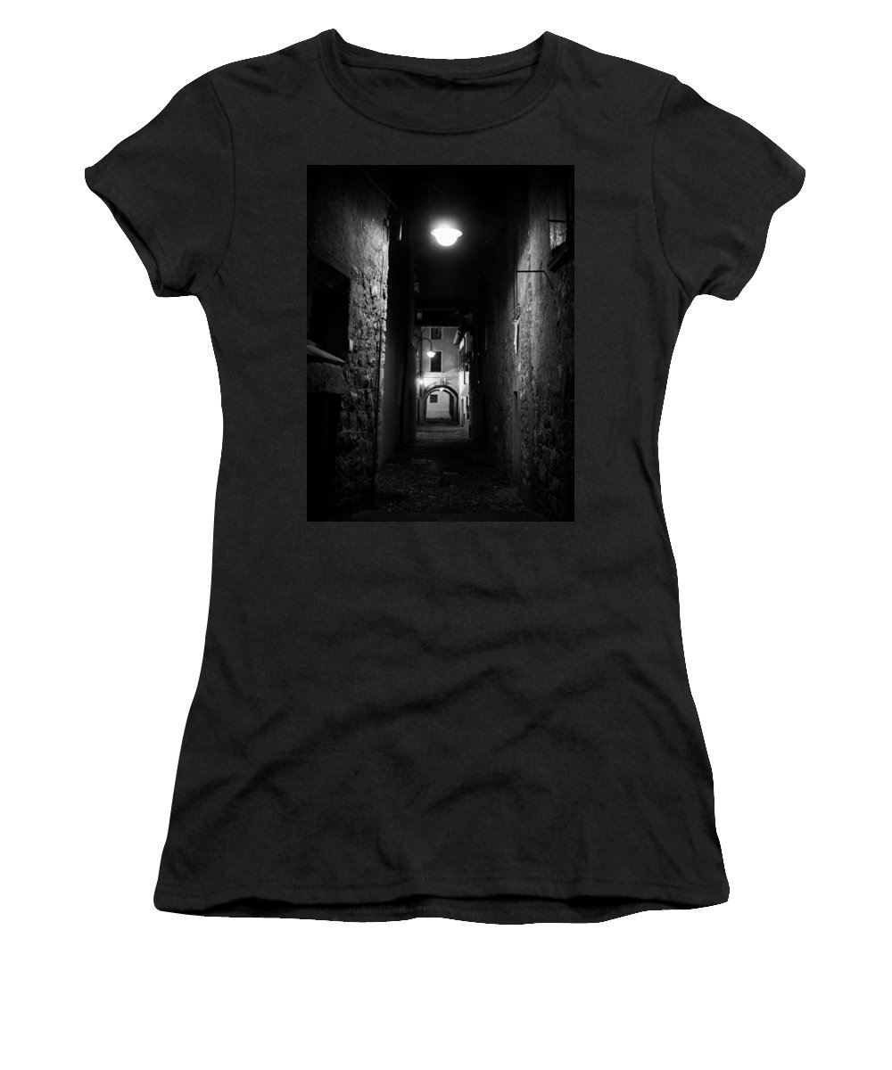 Francacorta Women's T-Shirt featuring the photograph Alley Of Melancholy. Iseo by Jouko Lehto