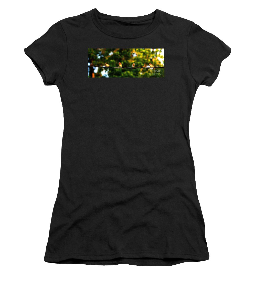 Color Photography Women's T-Shirt featuring the photograph 4 Birds by Leon Hollins III