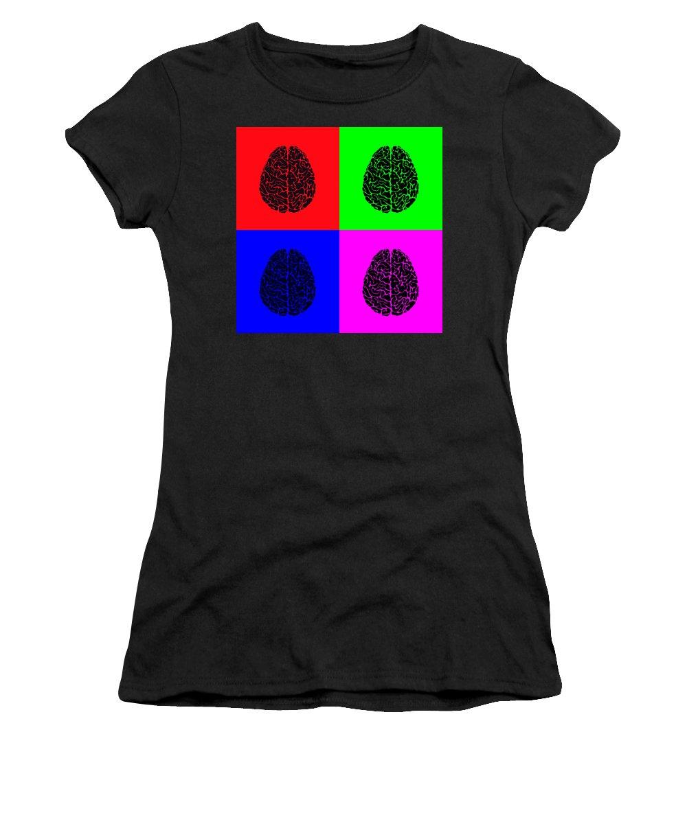 Brains Women's T-Shirt (Athletic Fit) featuring the digital art 4 Brain Pop Art Panel by Daniel Hagerman