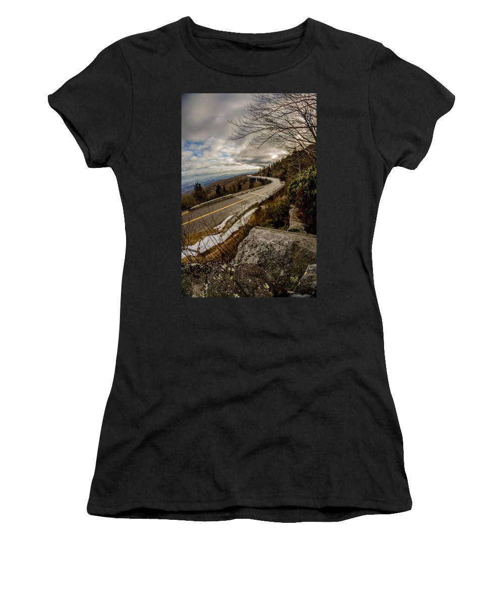 Road Women's T-Shirt (Athletic Fit) featuring the photograph Linn Cove Viaduct During Winter Near Blowing Rock Nc by Alex Grichenko
