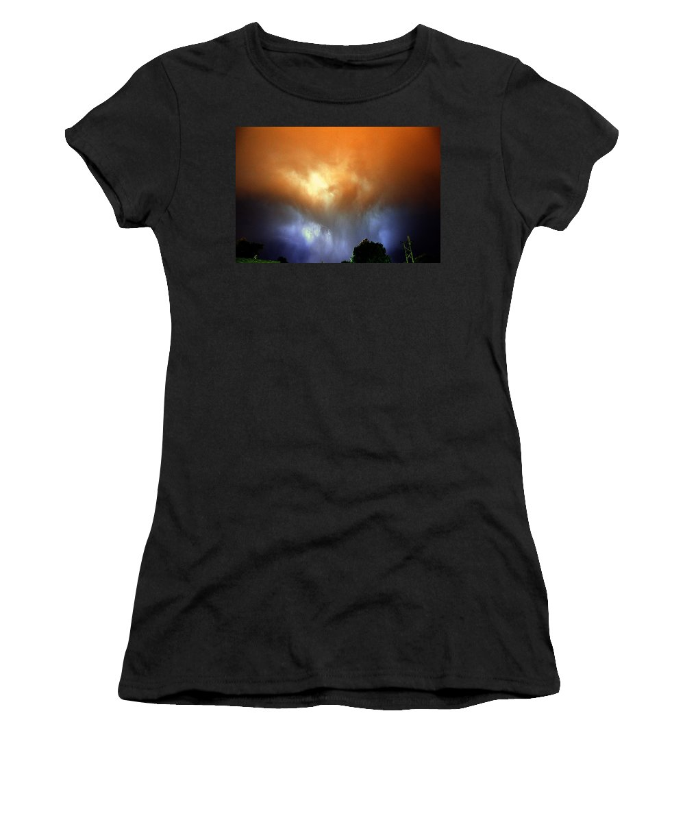 Stormscape Women's T-Shirt (Athletic Fit) featuring the photograph Rounds 2 3 Late Night Nebraska Storms by NebraskaSC