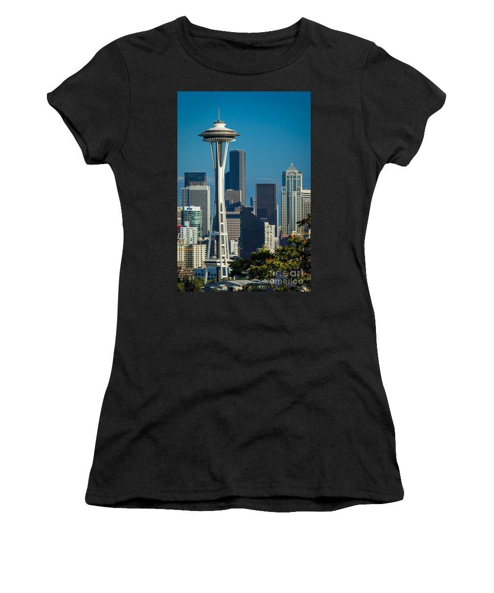 America Women's T-Shirt featuring the photograph Seattle Skyline by Brian Jannsen