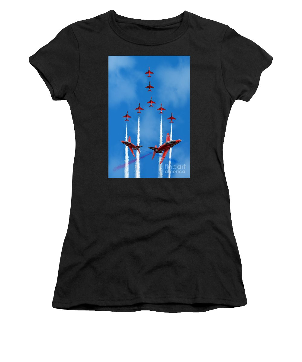 The Red Arrows Women's T-Shirt (Athletic Fit) featuring the digital art The Red Arrows by J Biggadike