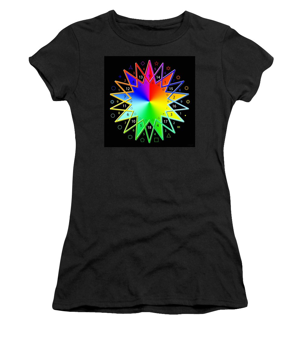 Sacredlife Mandalas Women's T-Shirt (Athletic Fit) featuring the digital art 432hz Rainbow Star by Derek Gedney