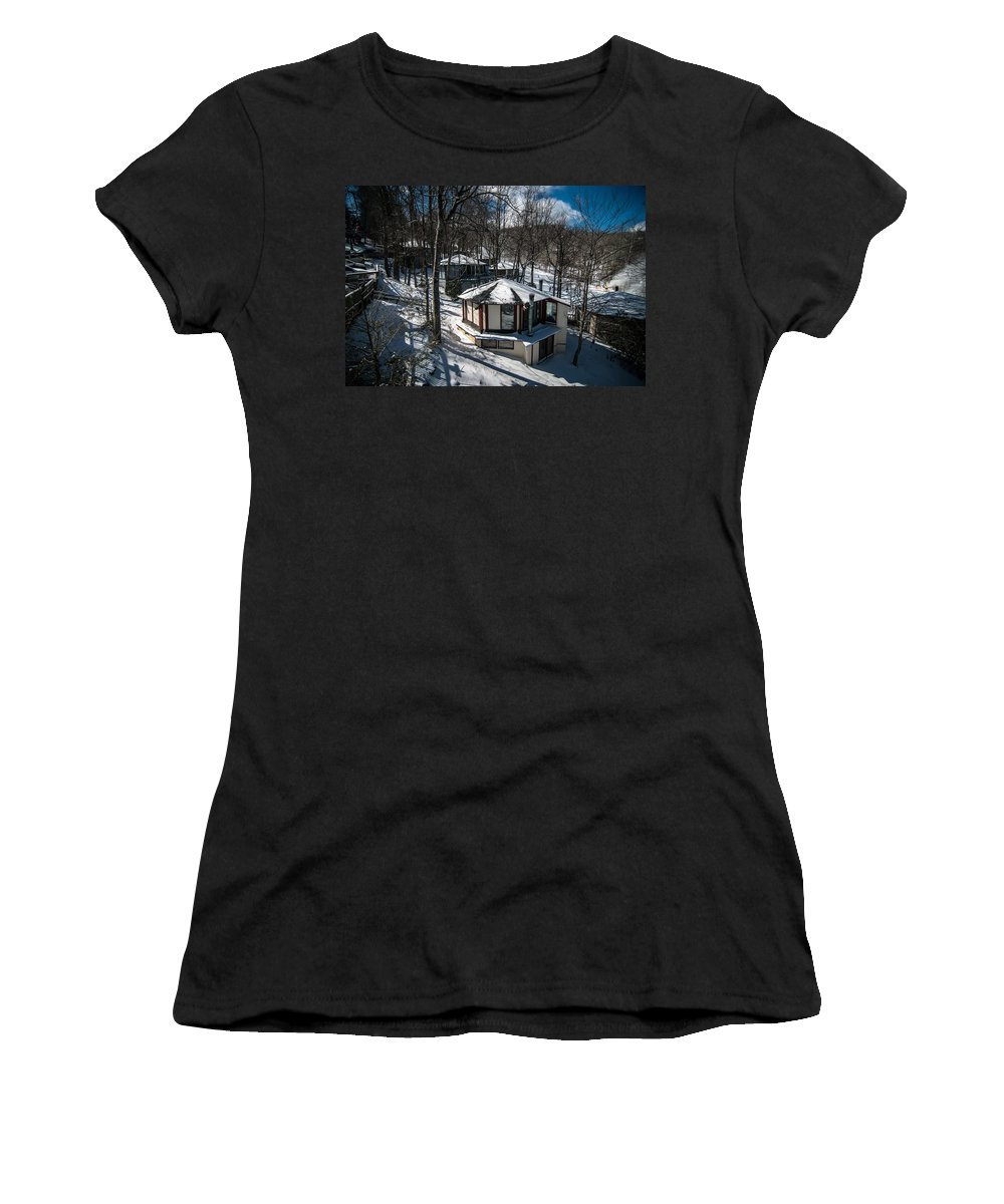 People Women's T-Shirt (Athletic Fit) featuring the photograph At The Ski Resort by Alex Grichenko