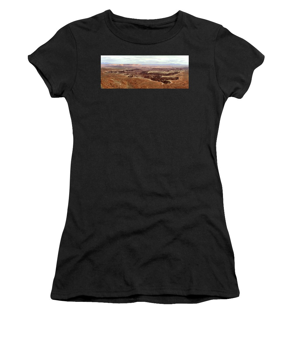 Brett Pfister Canyonlands National Park Popular Artist Fine Art Photography Epic Grand Scene Landscape Mountain Amazing Vintage Old Tall Massive Colorado Utah Arkansas Trees River Valley Sunset Sunrise Rock Location Bright Colorful Clouds Scenic Elevation High Rugged Realistic Canon Wide Women's T-Shirt (Athletic Fit) featuring the photograph Canyonlands National Park In Utah by Brett Pfister
