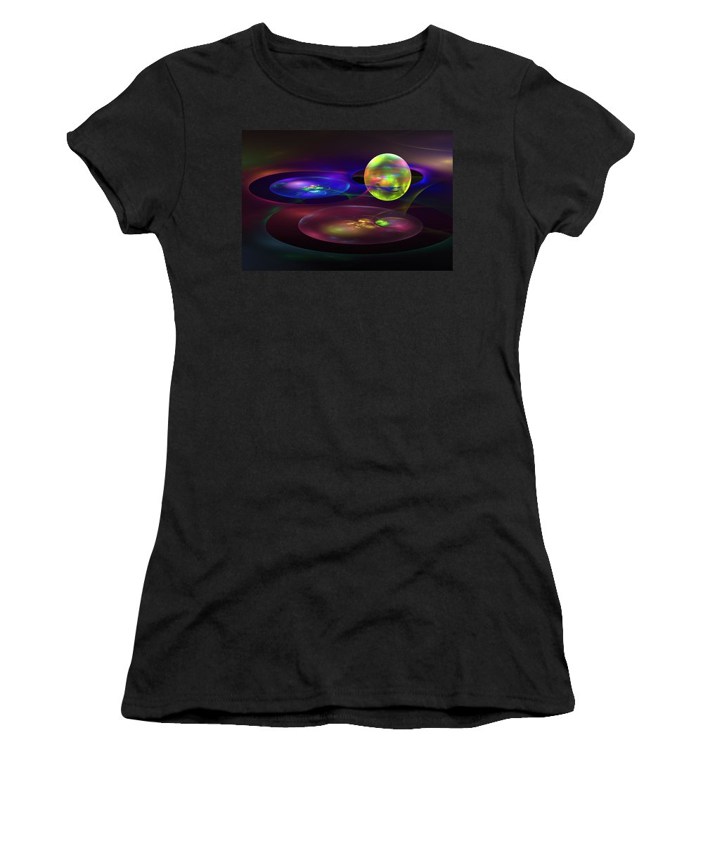 Blue Women's T-Shirt (Athletic Fit) featuring the photograph Computer Generated Sphere Abstract Fractal Flame Modern Art by Keith Webber Jr