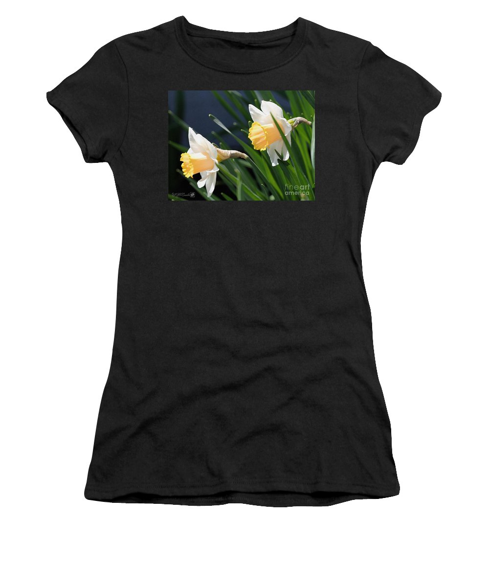 Mccombie Women's T-Shirt featuring the painting Large-cupped Daffodil Named Mrs. R.o. Backhouse by J McCombie