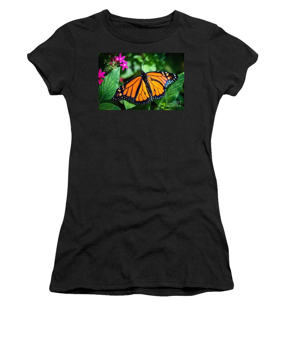 Monarch Women's T-Shirt (Athletic Fit) featuring the photograph Monarch Danaus Plexippus by Henrik Lehnerer