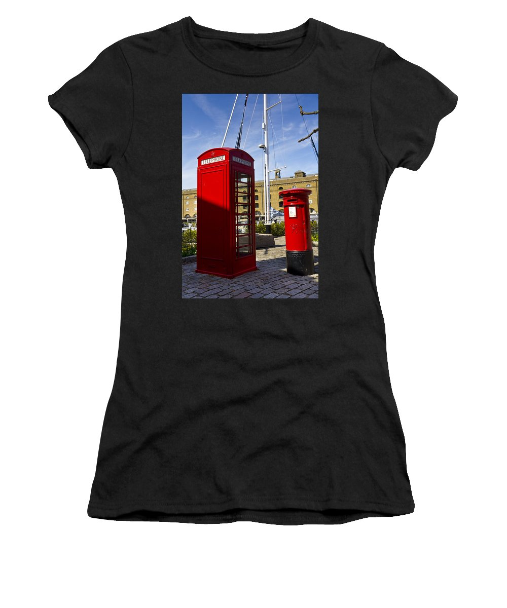 Red Women's T-Shirt featuring the photograph Post Box Phone Box by David Pyatt