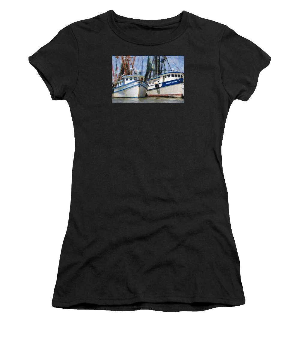 Shrimp Boats Women's T-Shirt featuring the digital art Shrimp Boats On The Creek by Dale Powell