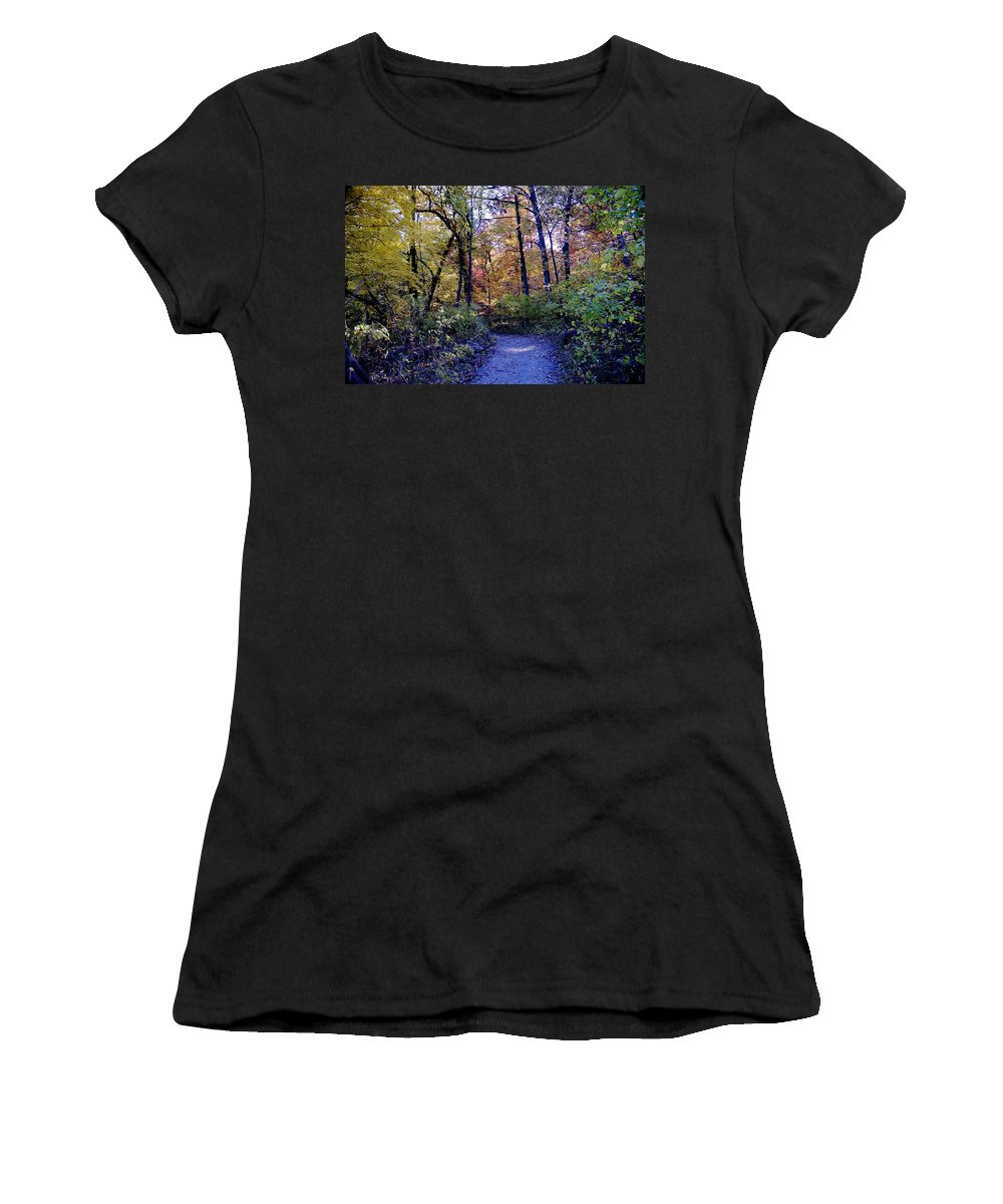 Fall Women's T-Shirt featuring the photograph A Path In The Woods by Patrick Warneka