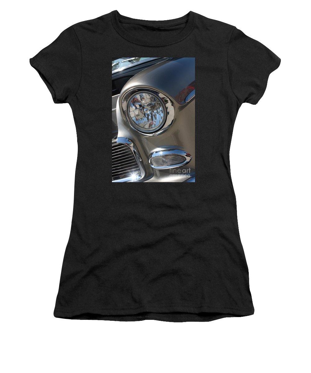 1955 Chevrolet Bel Air Women's T-Shirt featuring the photograph 55 Bel Air Headlight-8200 by Gary Gingrich Galleries