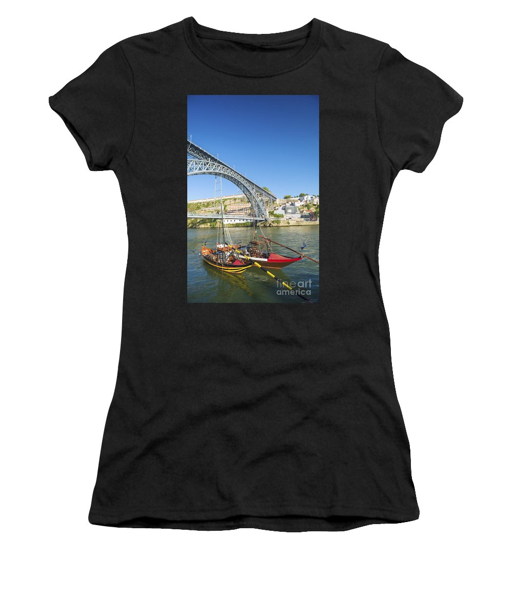 Architecture Women's T-Shirt (Athletic Fit) featuring the photograph Dom Luis Bridge Porto Portugal by Jacek Malipan