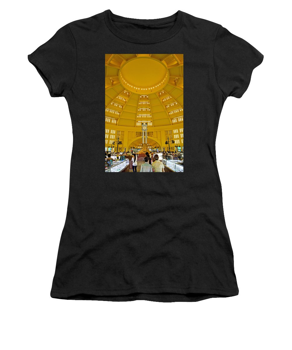 Architecture Women's T-Shirt (Athletic Fit) featuring the photograph Psar Thmei Central Market In Phnom Penh Cambodia by Jacek Malipan