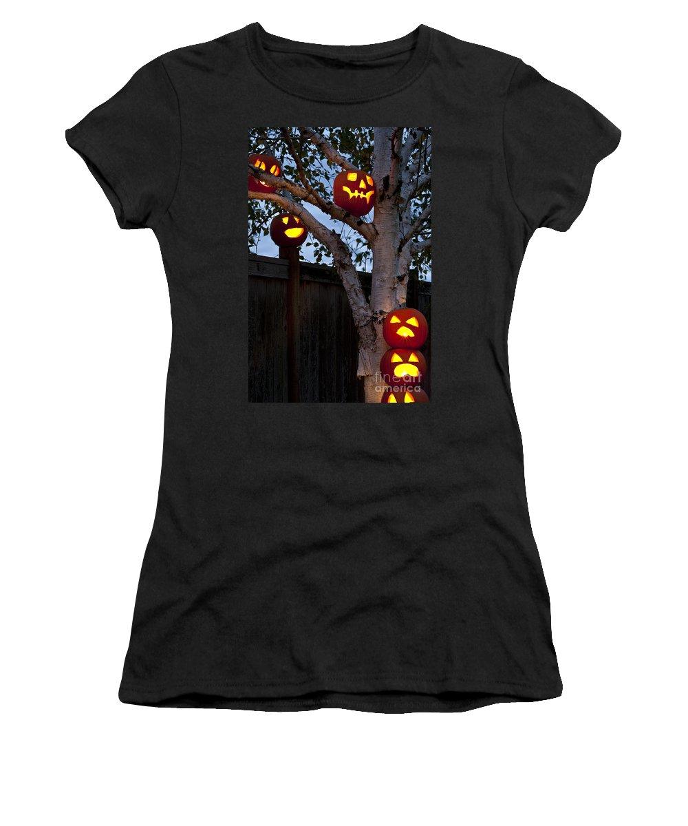 31st Women's T-Shirt featuring the photograph Pumpkin Escape Over Fence by Jim Corwin