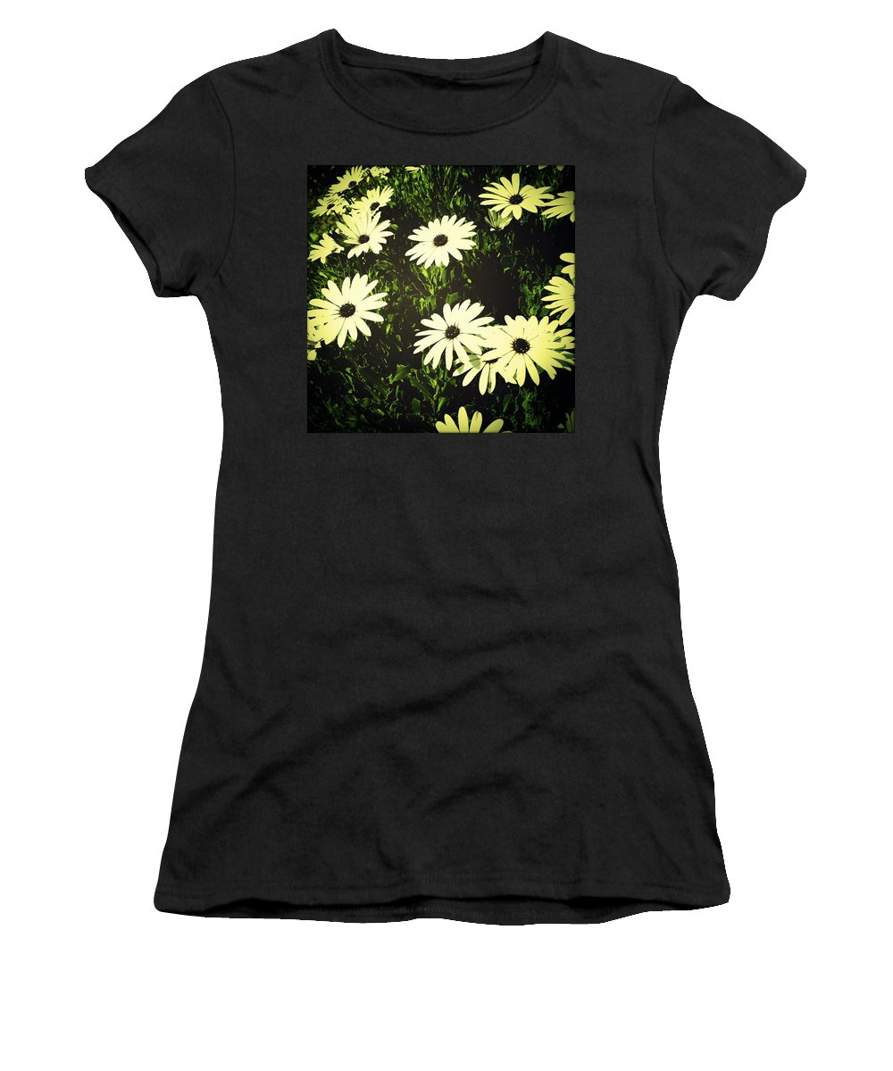 Bloom Women's T-Shirt (Athletic Fit) featuring the photograph Daisies by Les Cunliffe