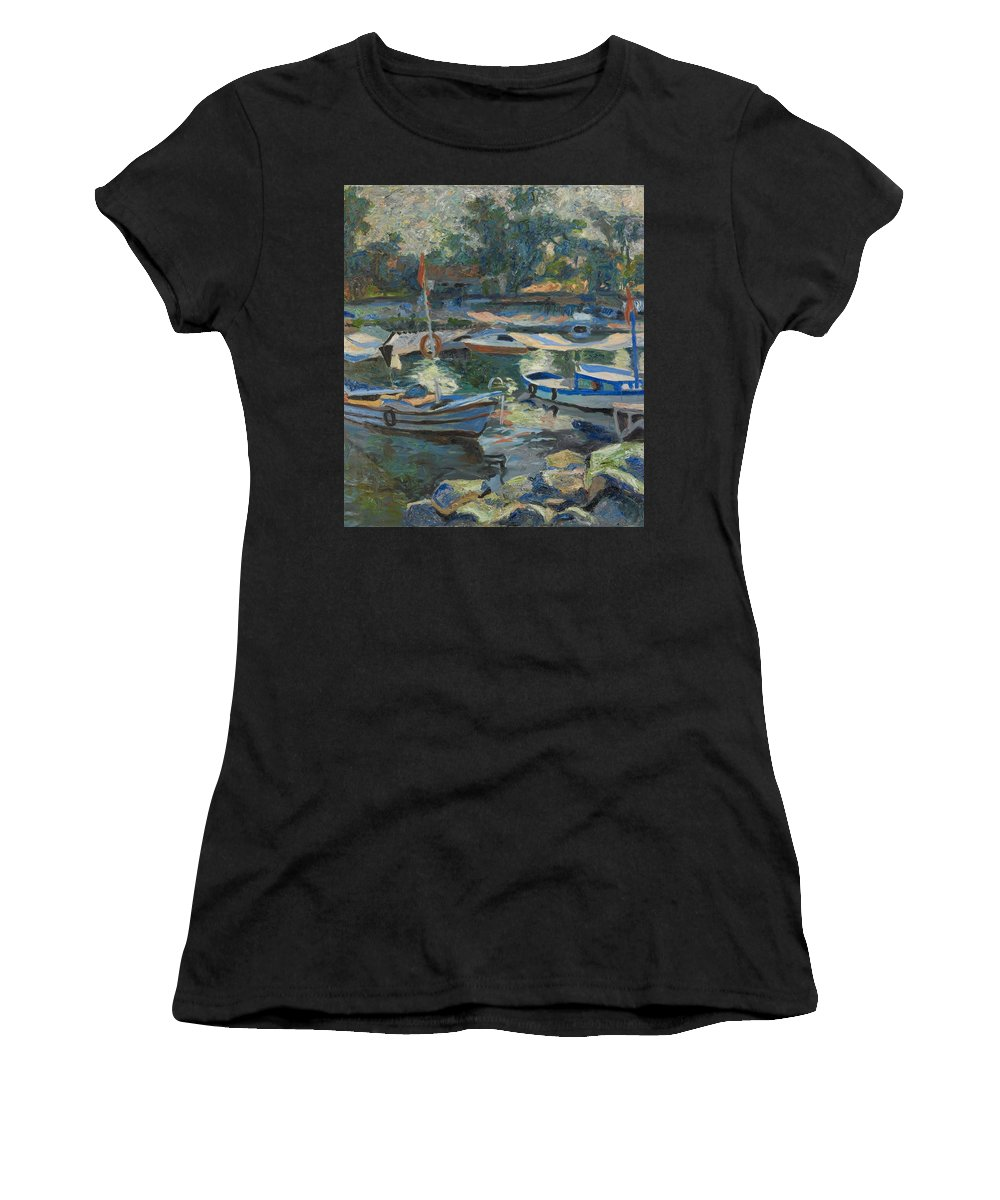 Landscape Women's T-Shirt featuring the painting Boats by Robert Nizamov