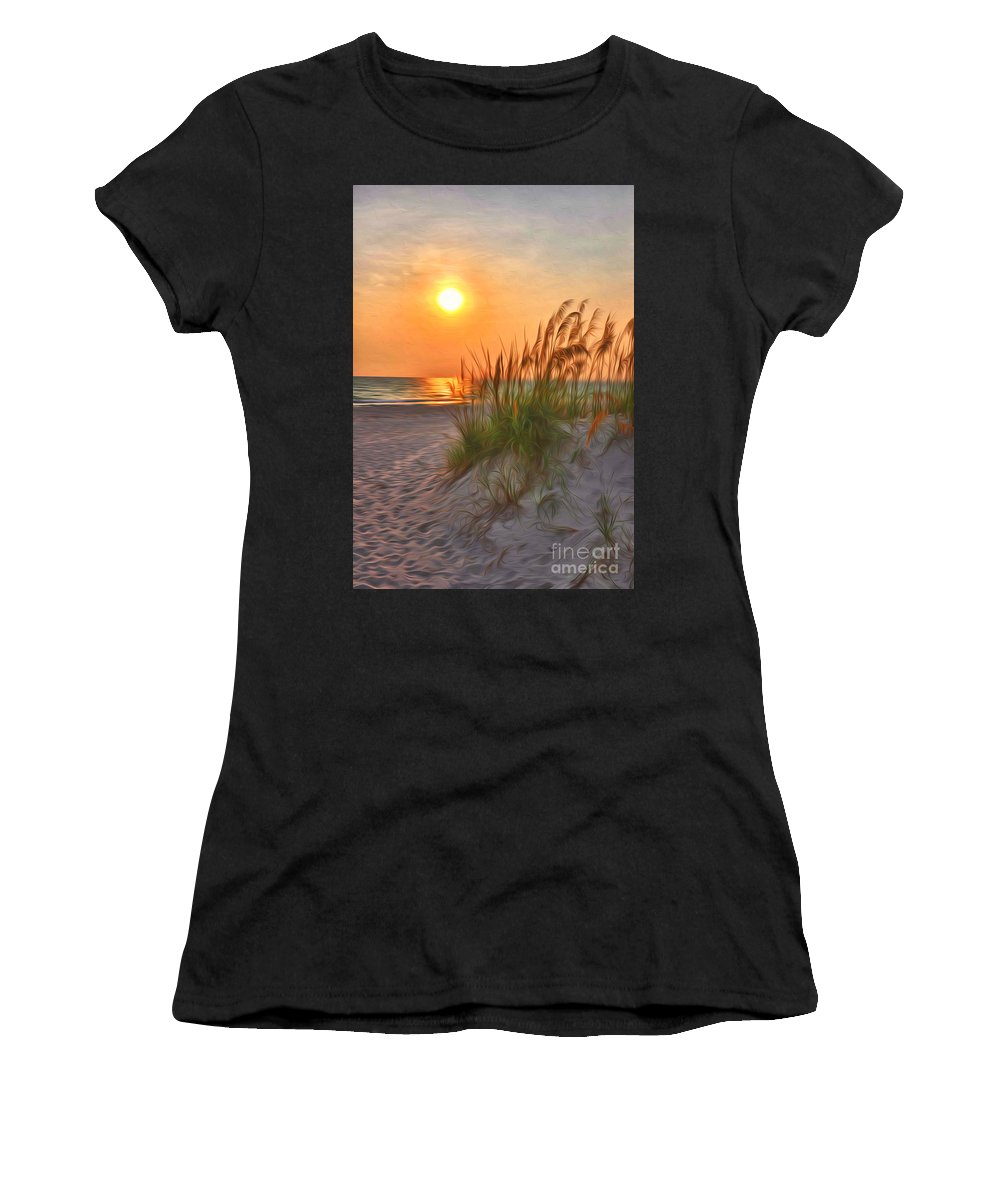 Sun Women's T-Shirt (Athletic Fit) featuring the photograph A Beach Sunset by Brian Mollenkopf