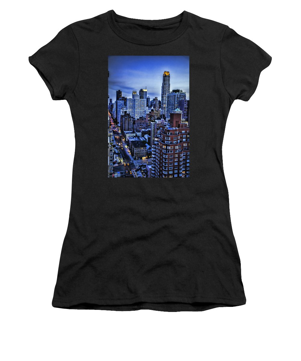 Night Women's T-Shirt featuring the photograph A City That Never Sleeps by Madeline Ellis