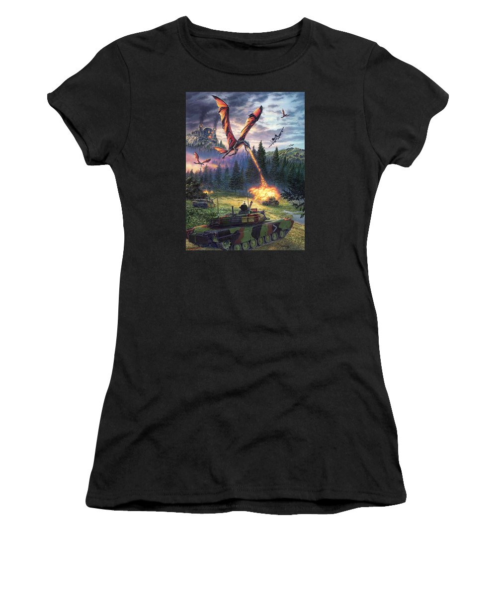 Dragon Women's T-Shirt (Athletic Fit) featuring the painting A Clash Of Worlds by Stu Shepherd