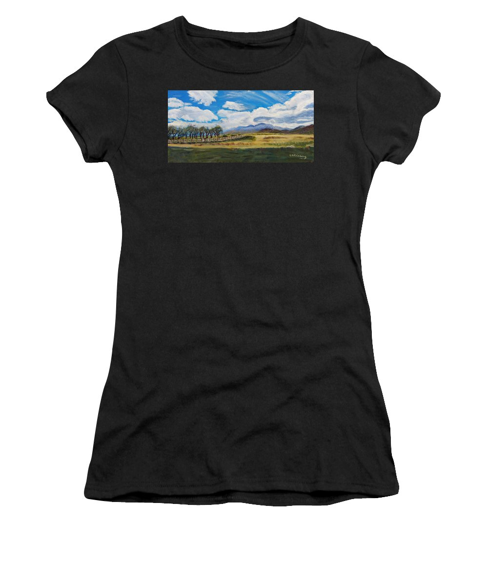 Utah Women's T-Shirt (Athletic Fit) featuring the painting A Cloudy Day On Antelope Island by Linda Feinberg