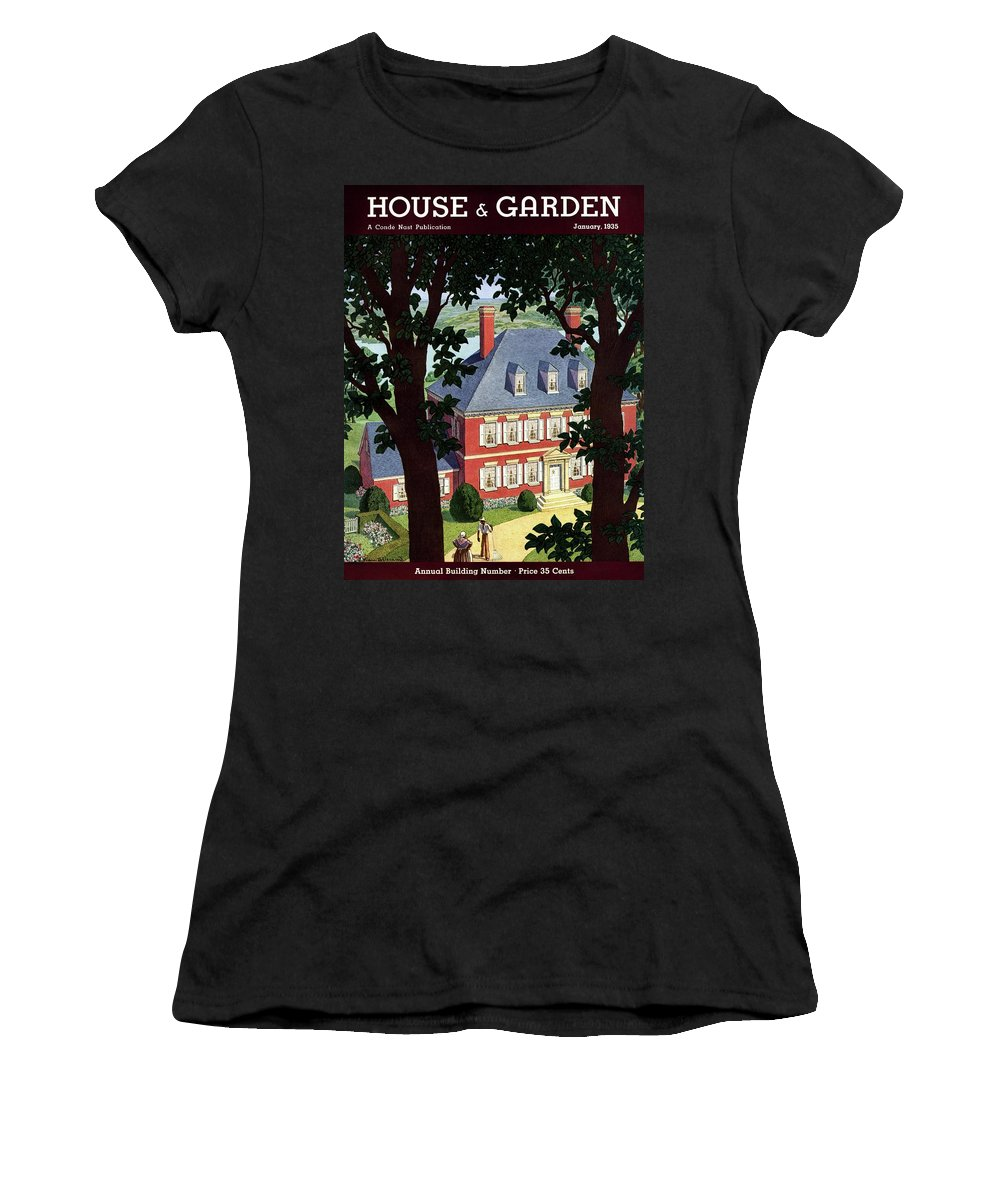 House And Garden Women's T-Shirt featuring the photograph A Colonial Manor House by Pierre Brissaud