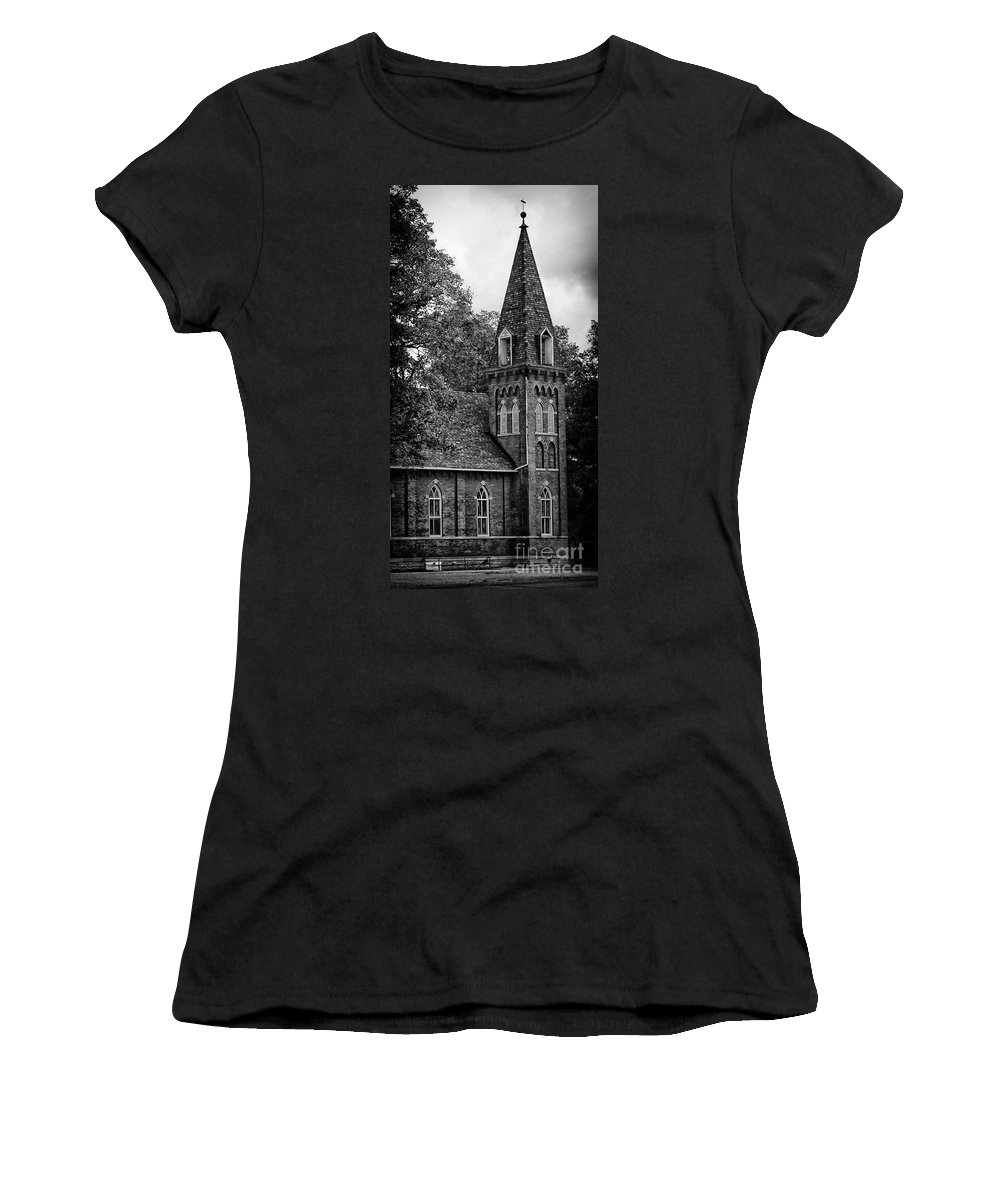 Church Women's T-Shirt featuring the photograph A Country Chuch's Bell Tower by Brian Mollenkopf