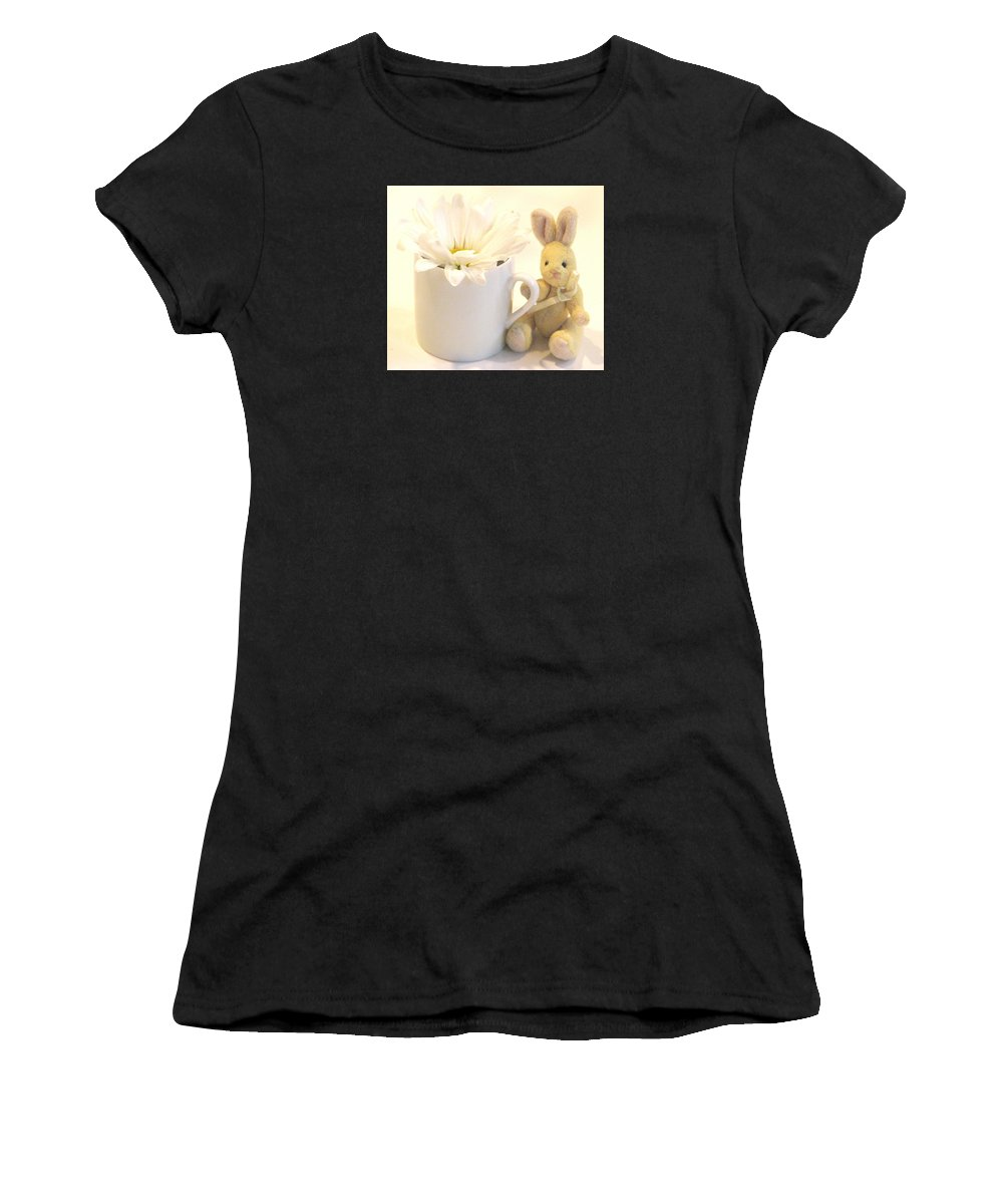 Daises Women's T-Shirt (Athletic Fit) featuring the photograph A Cup Of Cheer by Angela Davies