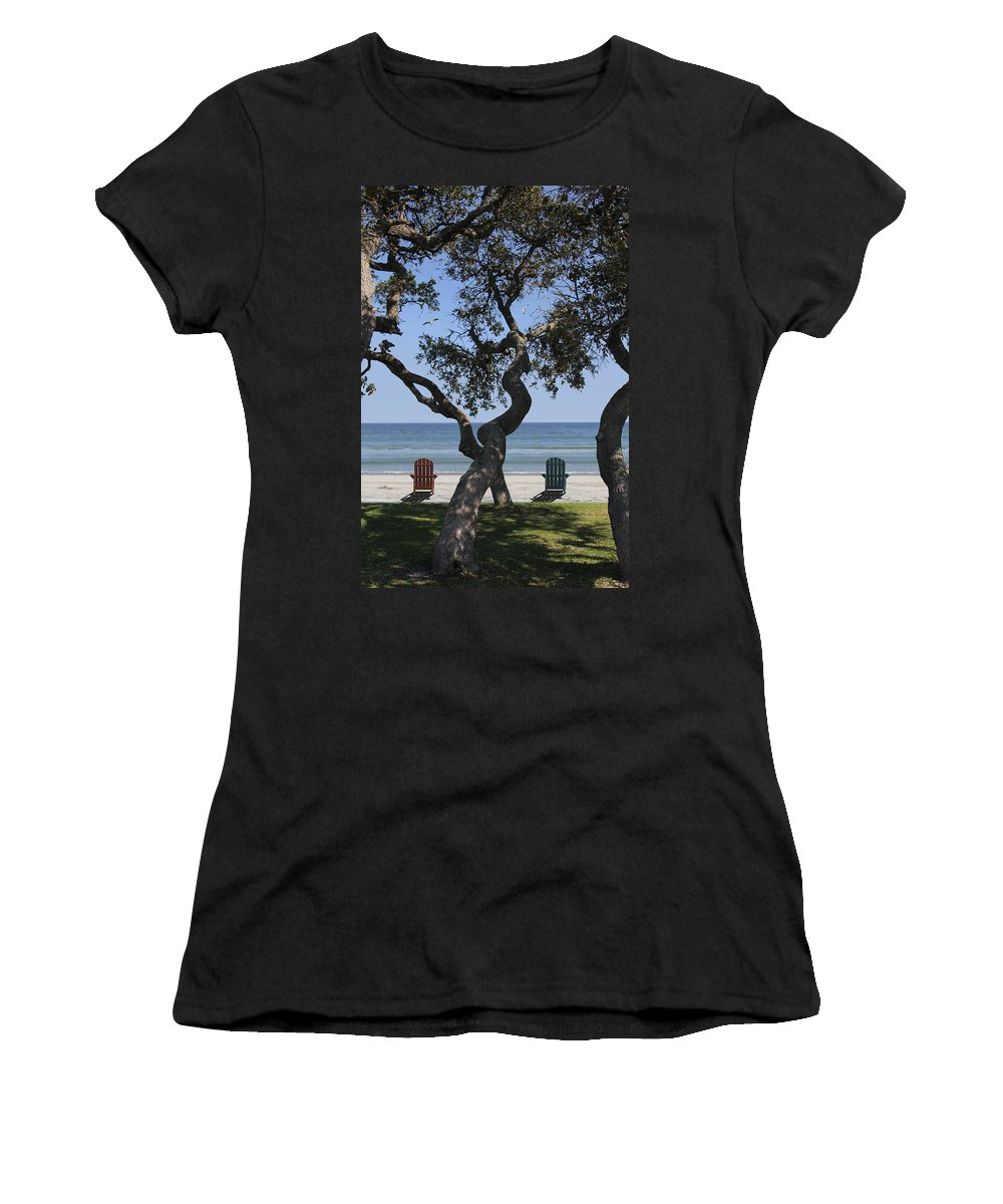 Seascape Women's T-Shirt (Athletic Fit) featuring the photograph A Day At The Beach by Mike McGlothlen