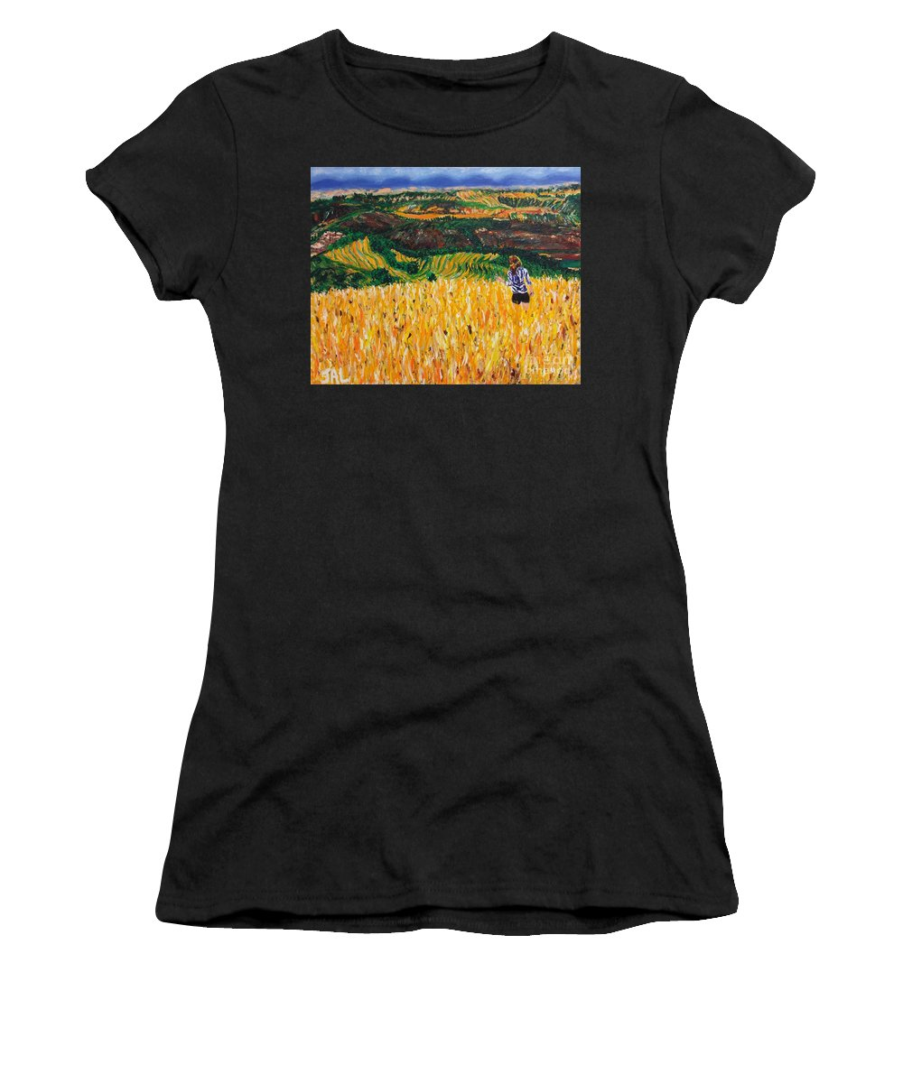 Tuscany Women's T-Shirt featuring the painting A Day In Tuscany by Jennifer Lombardo