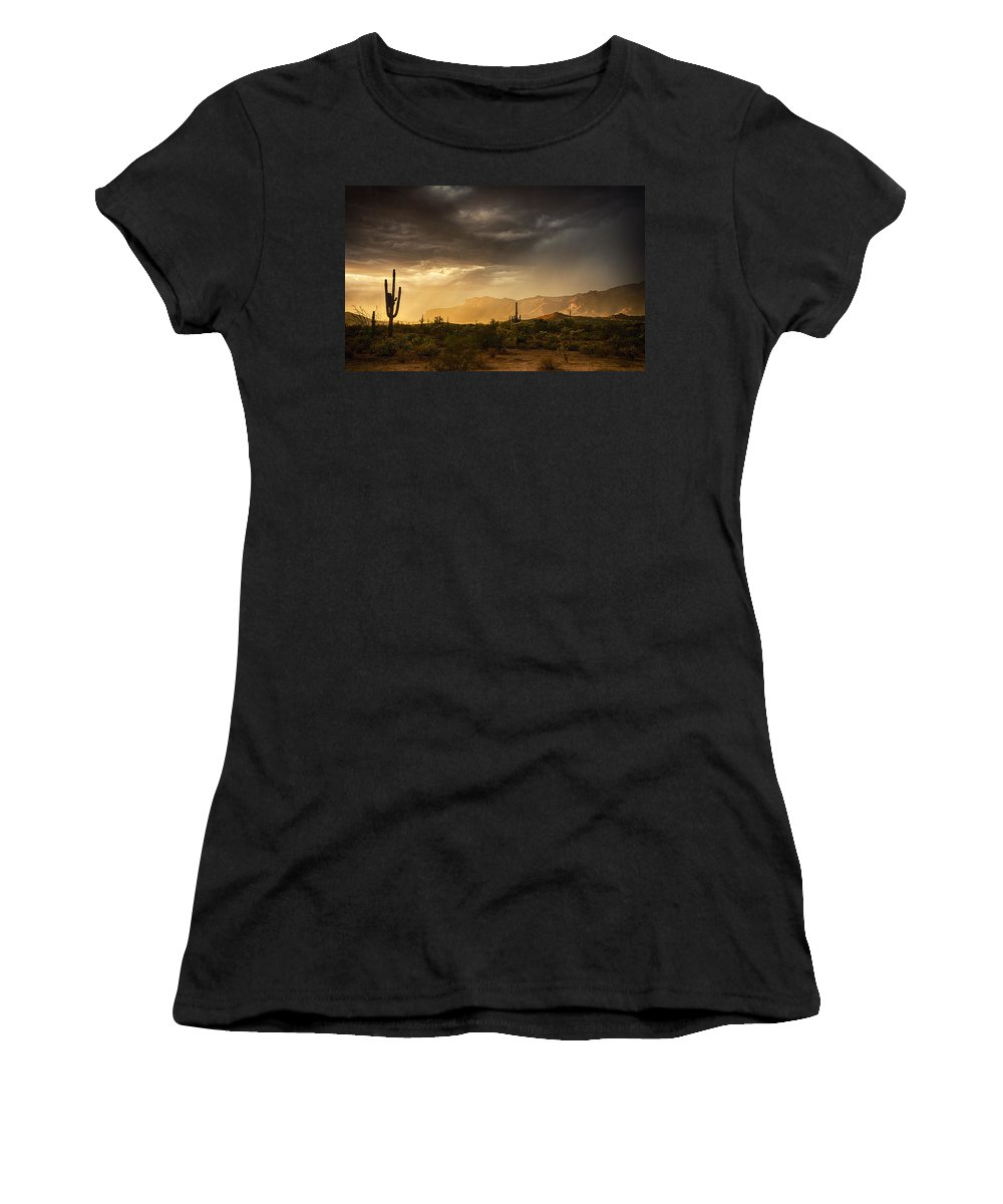Arizona Women's T-Shirt featuring the photograph A Desert Monsoon Sunset by Saija Lehtonen
