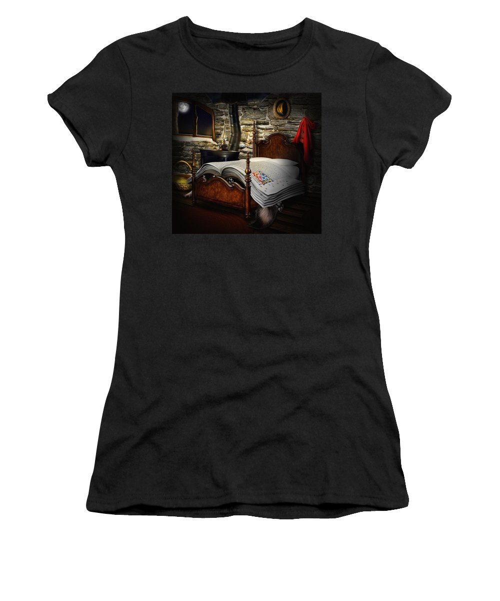 Little Red Cap Women's T-Shirt (Athletic Fit) featuring the digital art A Fairytale Before Sleep by Alessandro Della Pietra