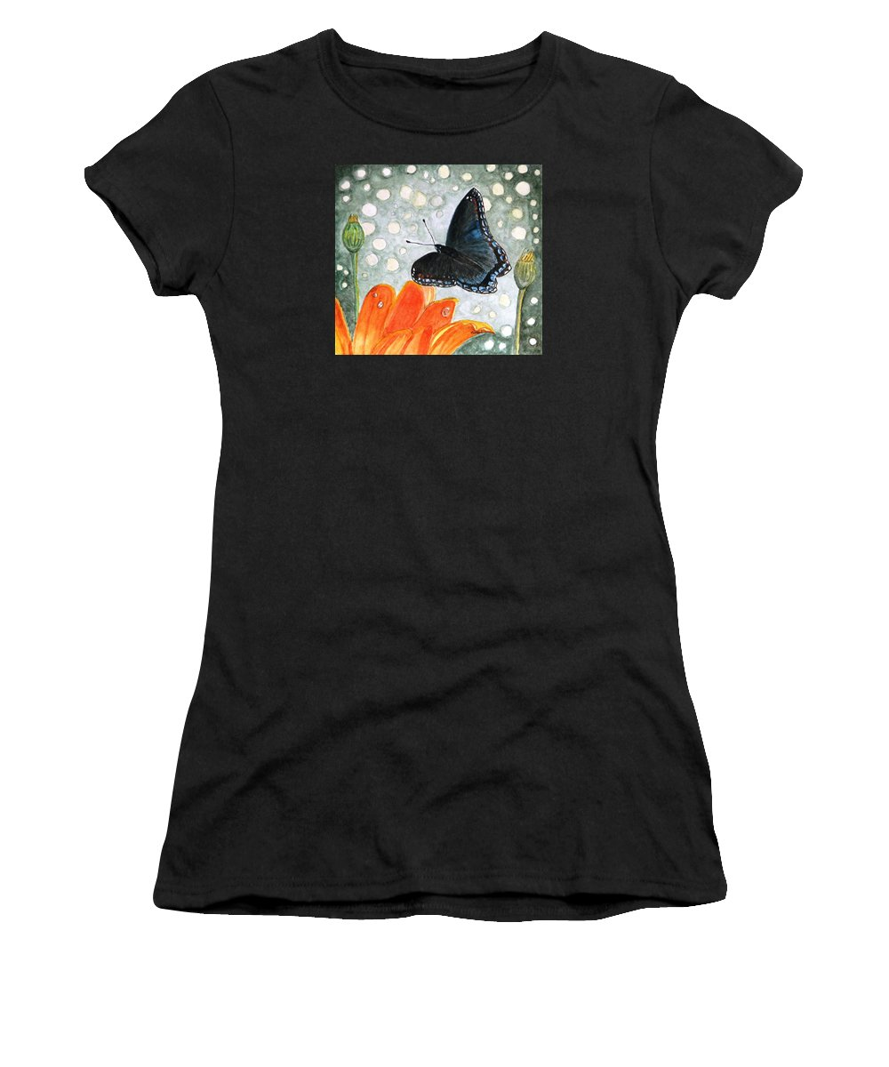 Watercolor Women's T-Shirt (Athletic Fit) featuring the painting A Garden Visitor by Angela Davies