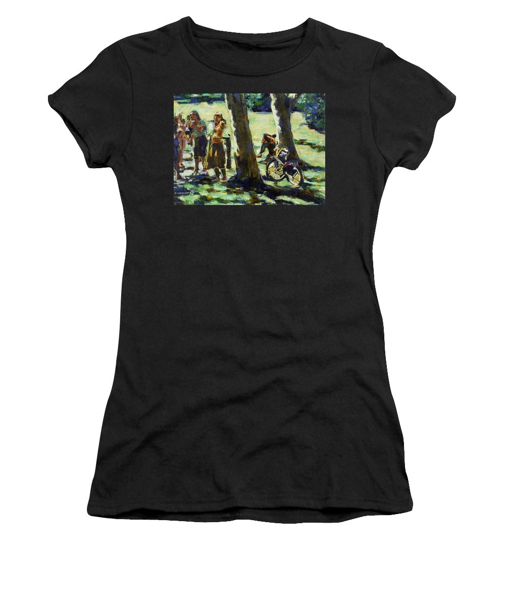 Park Gathering Group Groups People Figure Figures Friend Friends Friendships young People Bike Recreational Tree Trees Outdoors Parks Grass Impressionism Gestural Oregon Nature Natural Ecology Women's T-Shirt featuring the painting A Gathering by Faye Cummings