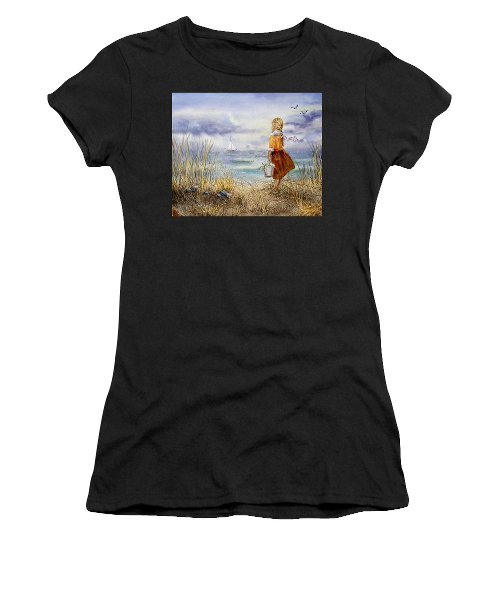 Girl And The Ocean Women's T-Shirt featuring the painting A Girl And The Ocean by Irina Sztukowski