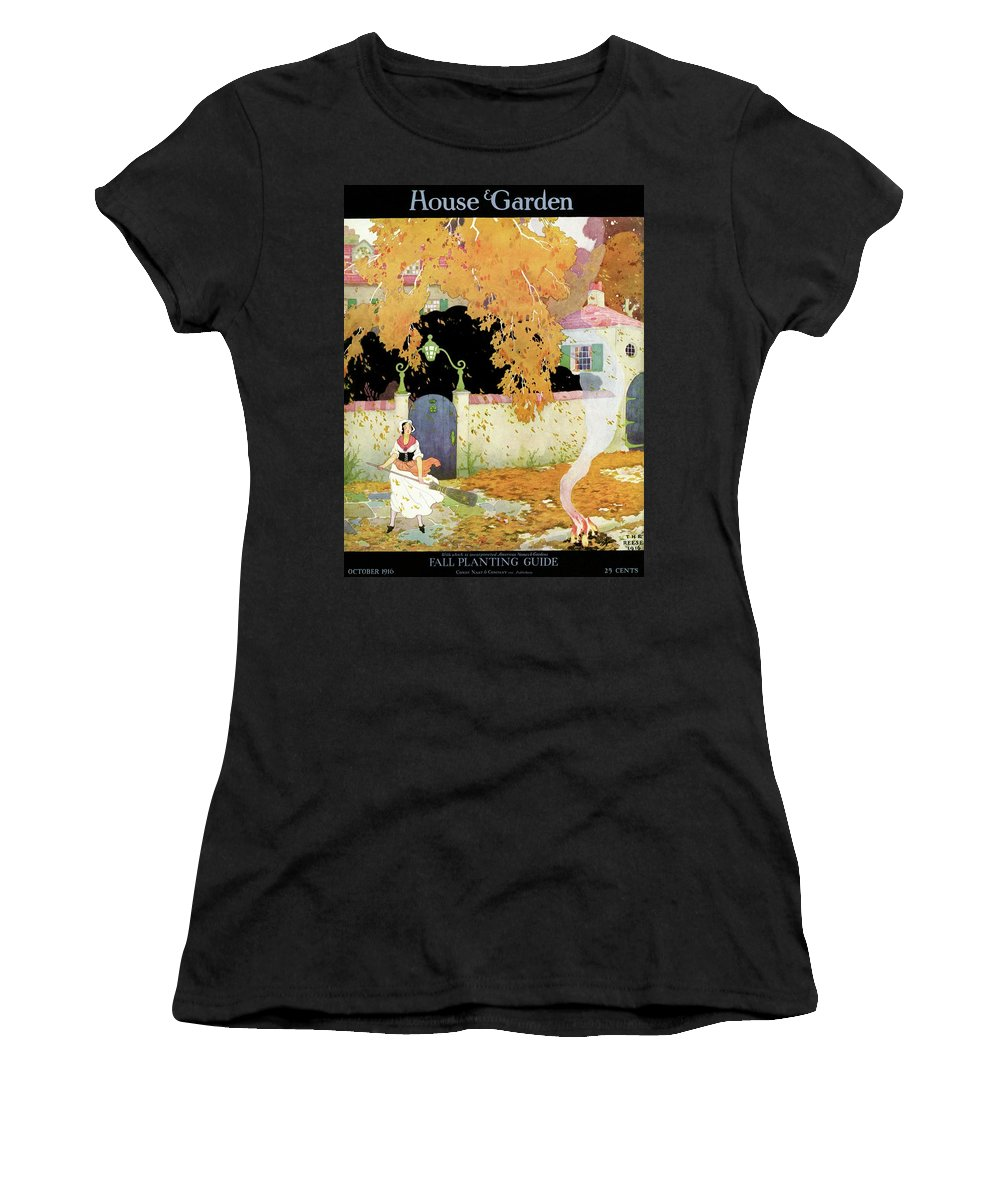 House And Garden Women's T-Shirt featuring the photograph A Girl Sweeping Leaves by The Reeses