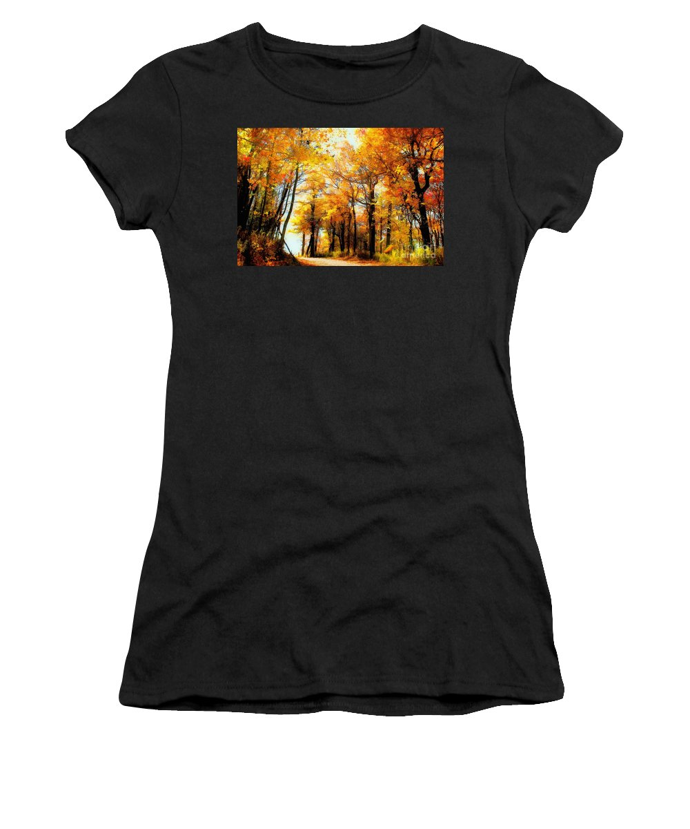 Autumn Leaves Women's T-Shirt (Athletic Fit) featuring the photograph A Golden Day by Lois Bryan